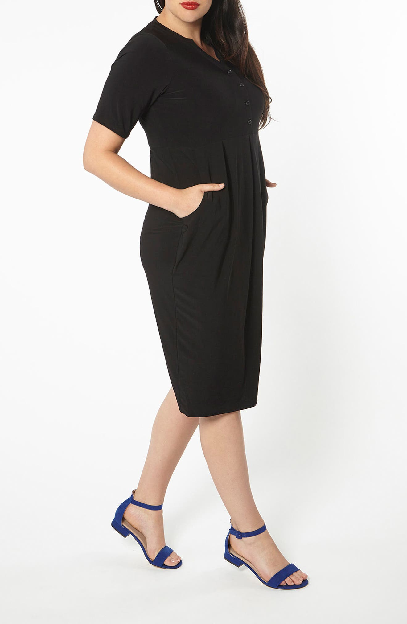 Pleat Jersey Dress,                             Alternate thumbnail 5, color,                             001
