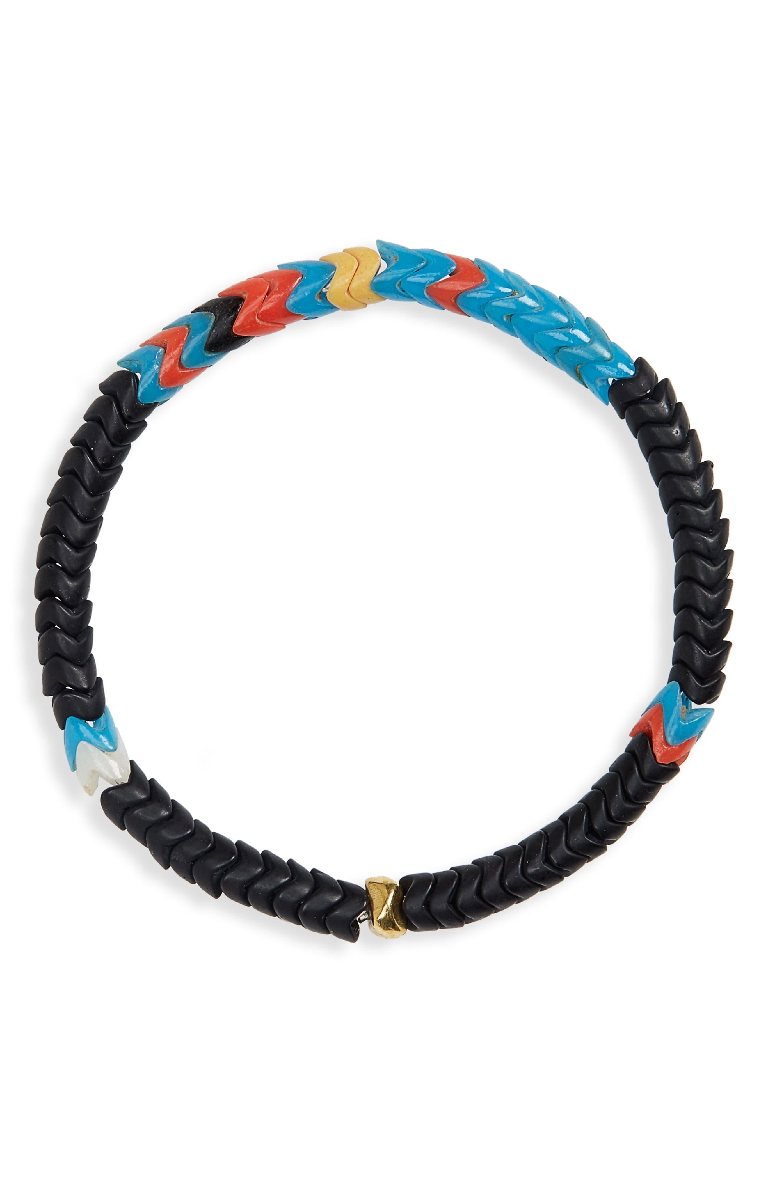 Stone Bead Bracelet,                             Main thumbnail 1, color,                             BLUE/ BLACK