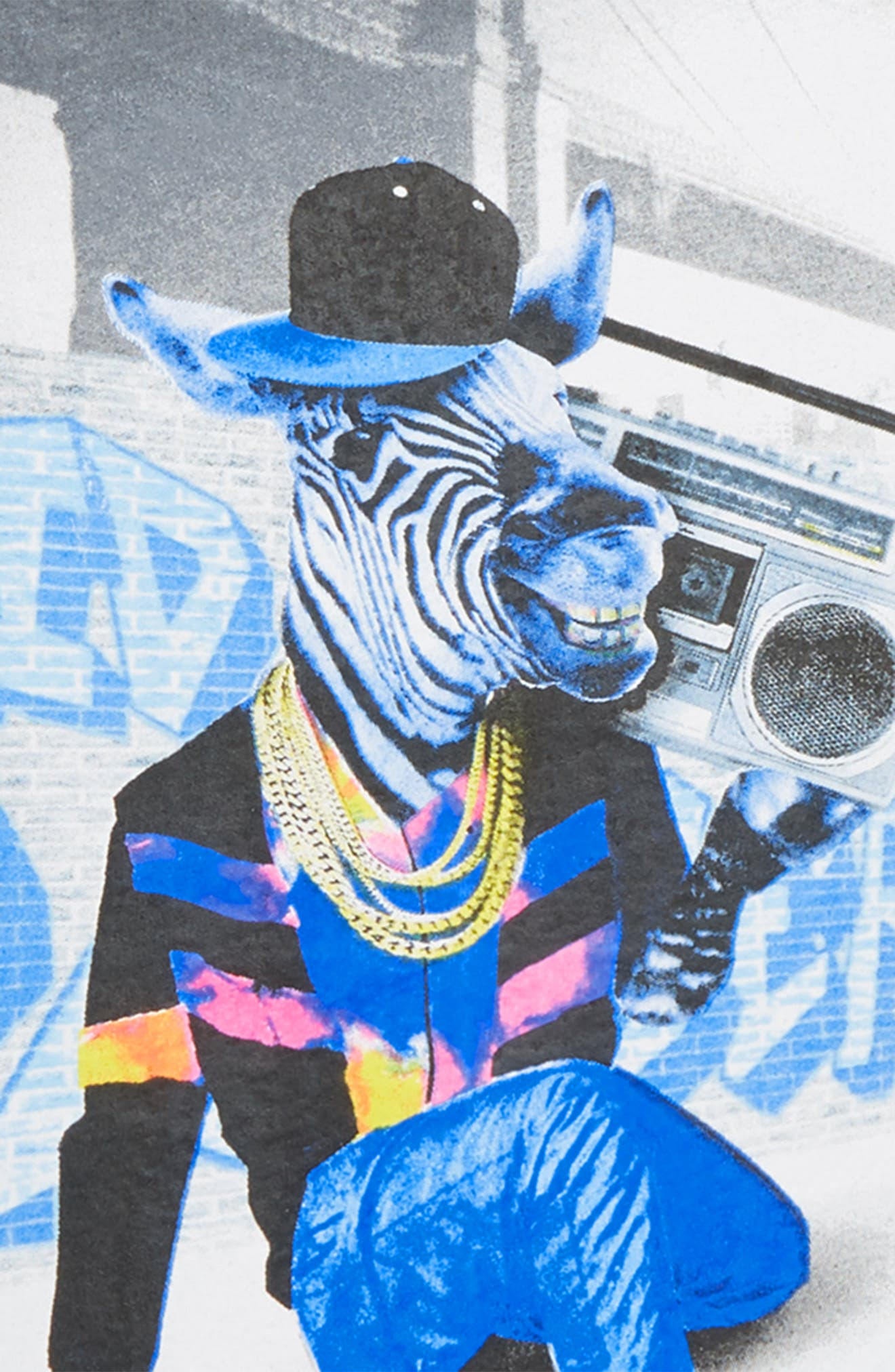 KID DANGEROUS,                             Zebra Boombox Graphic T-Shirt,                             Alternate thumbnail 2, color,                             001