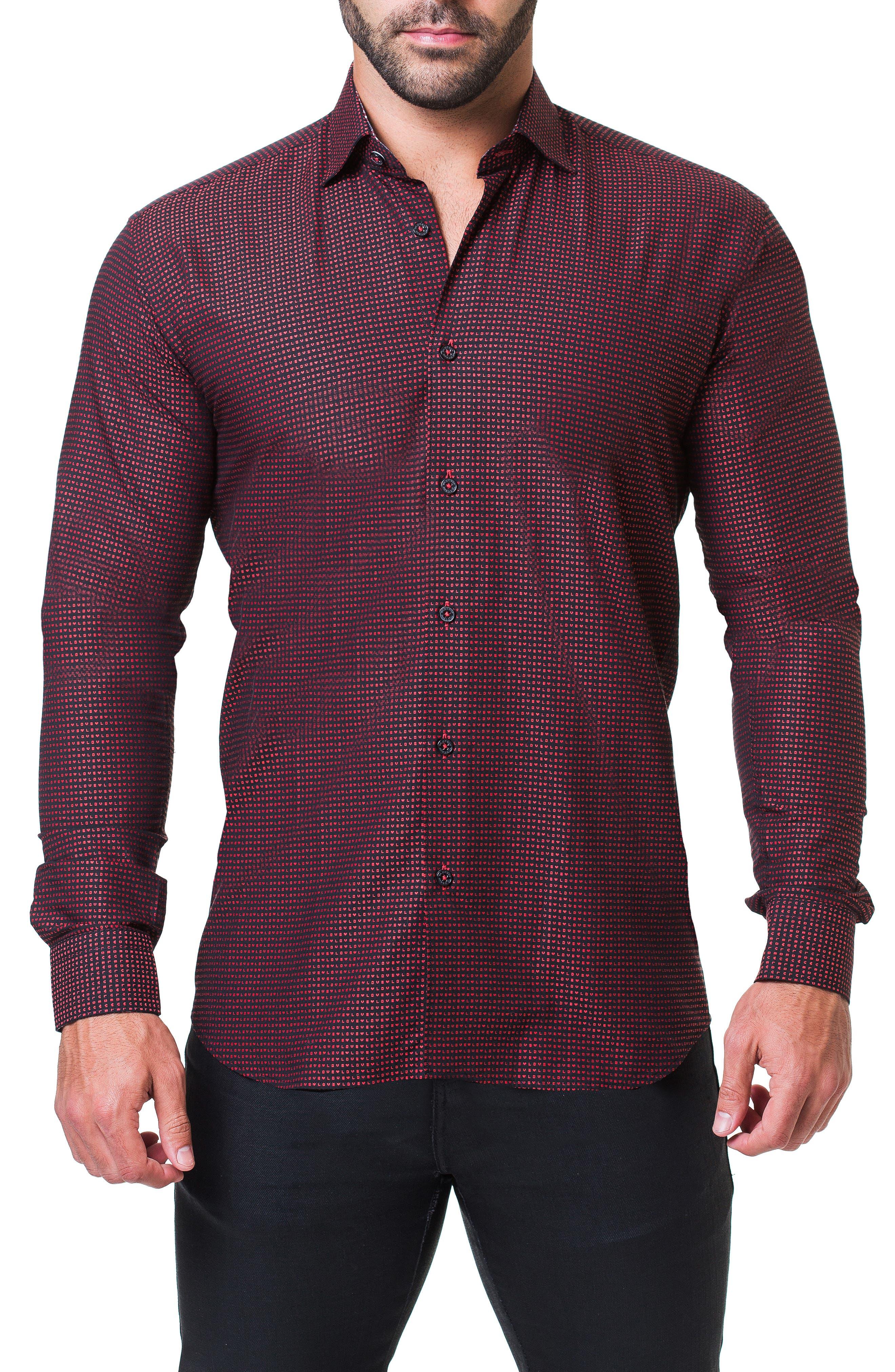 Fibonacci Love Trim Fit Print Sport Shirt,                         Main,                         color, RED