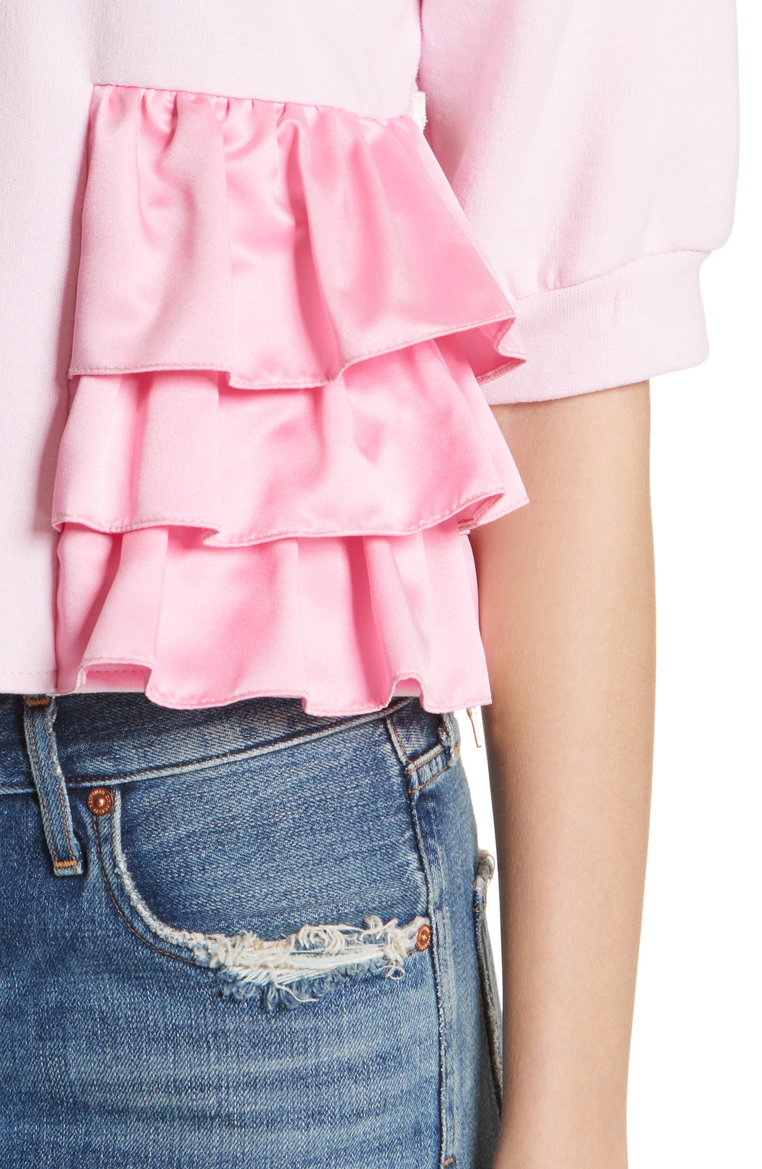 Ruffle Detail Crop Sweatshirt,                             Alternate thumbnail 4, color,                             650