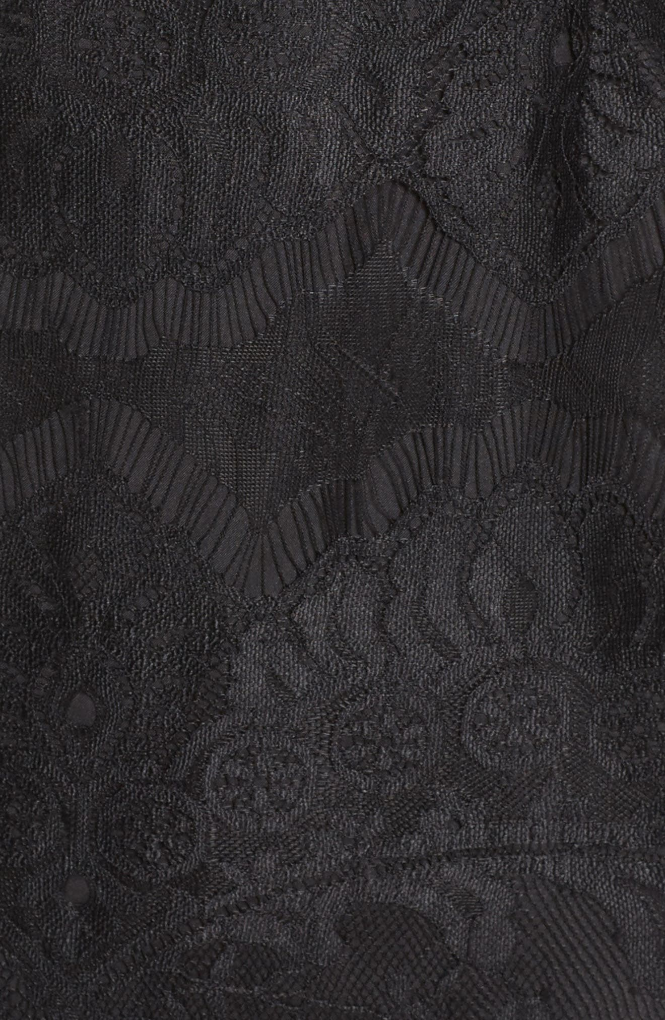Jayce Lace Sheath Dress,                             Alternate thumbnail 5, color,                             BLACK