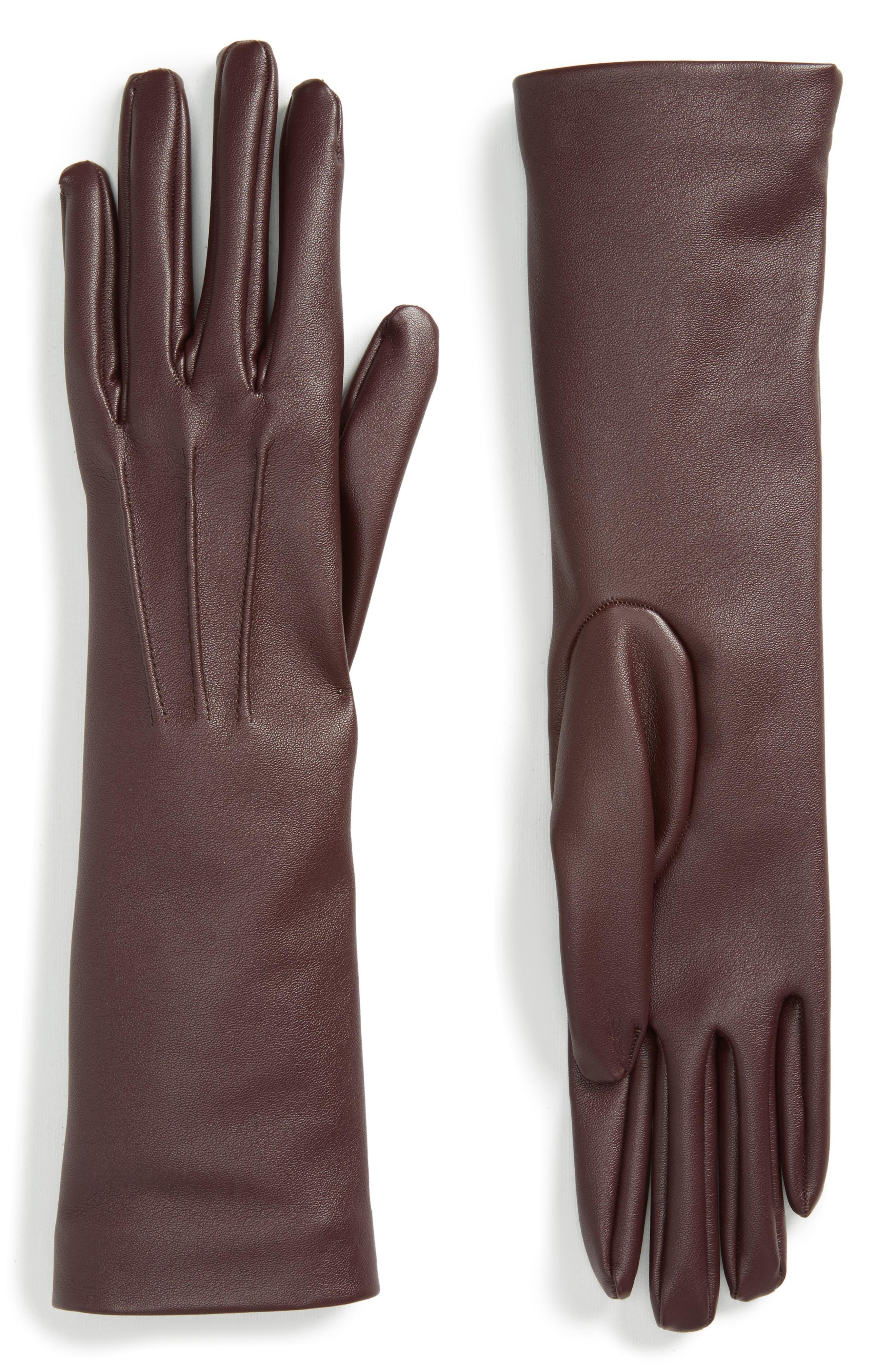 Faux Leather Gloves,                             Main thumbnail 4, color,