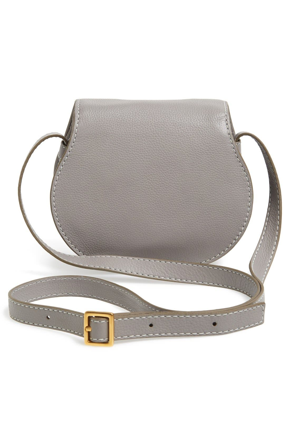 'Mini Marcie' Leather Crossbody Bag,                             Alternate thumbnail 3, color,                             CASHMERE GREY