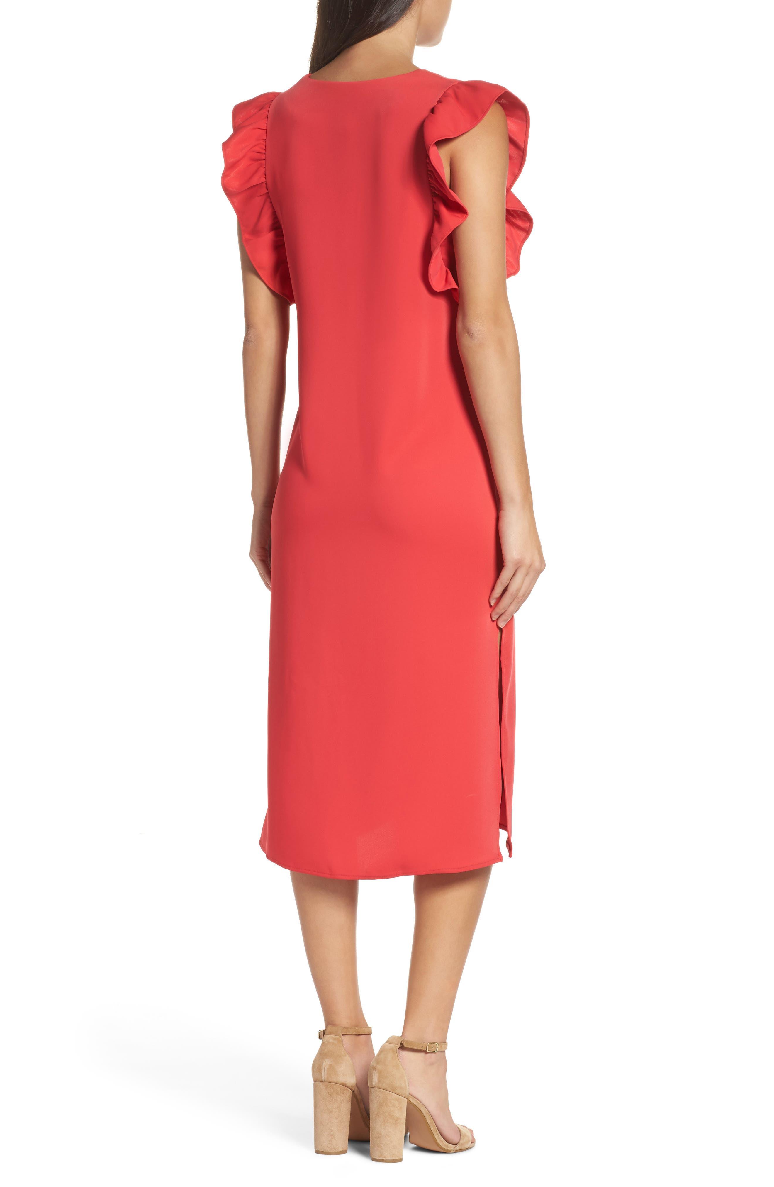 Ruffle Midi Dress,                             Alternate thumbnail 2, color,                             610