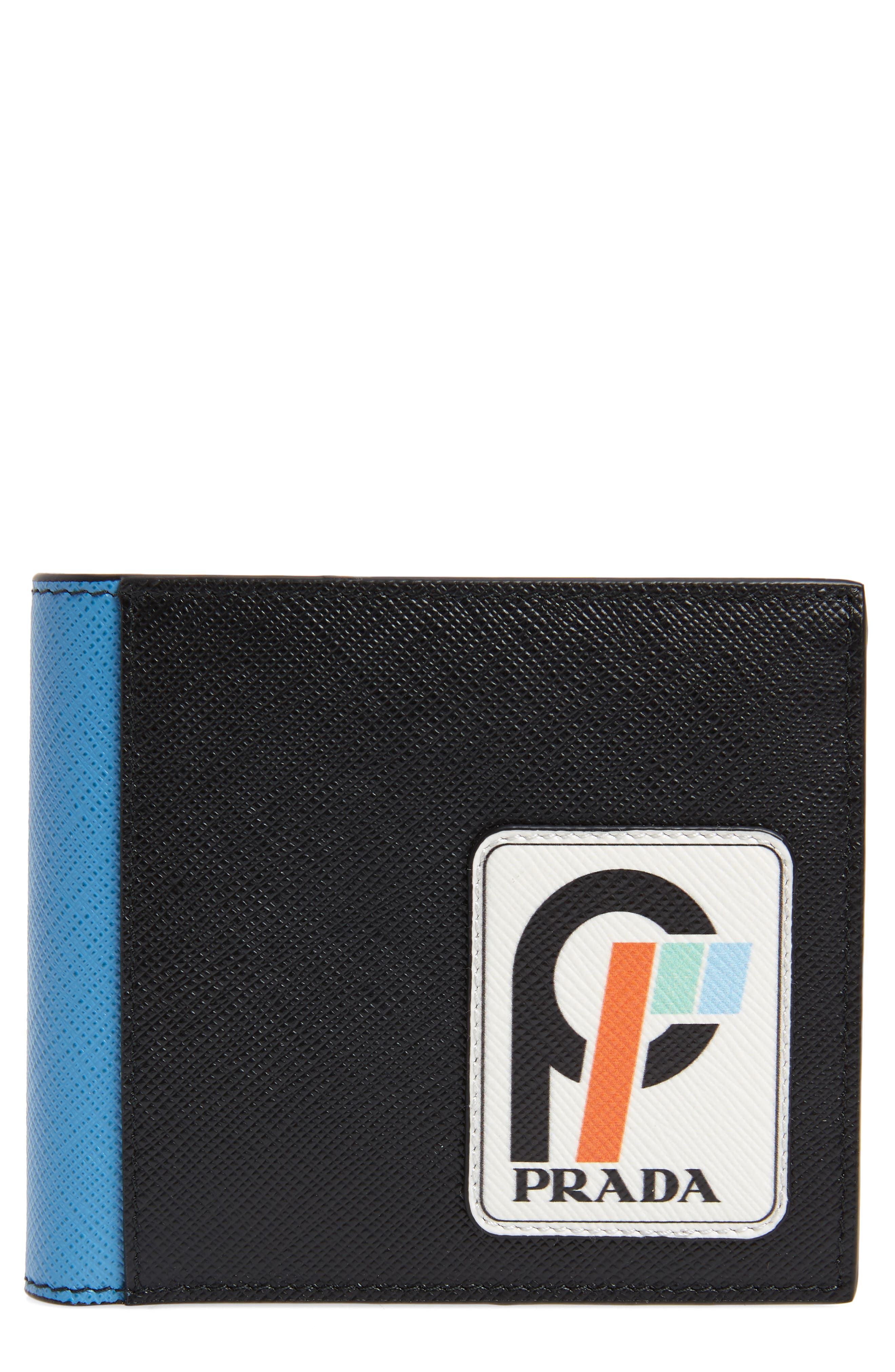 Saffiano Leather Patch Bifold Wallet,                             Main thumbnail 1, color,                             BLACK