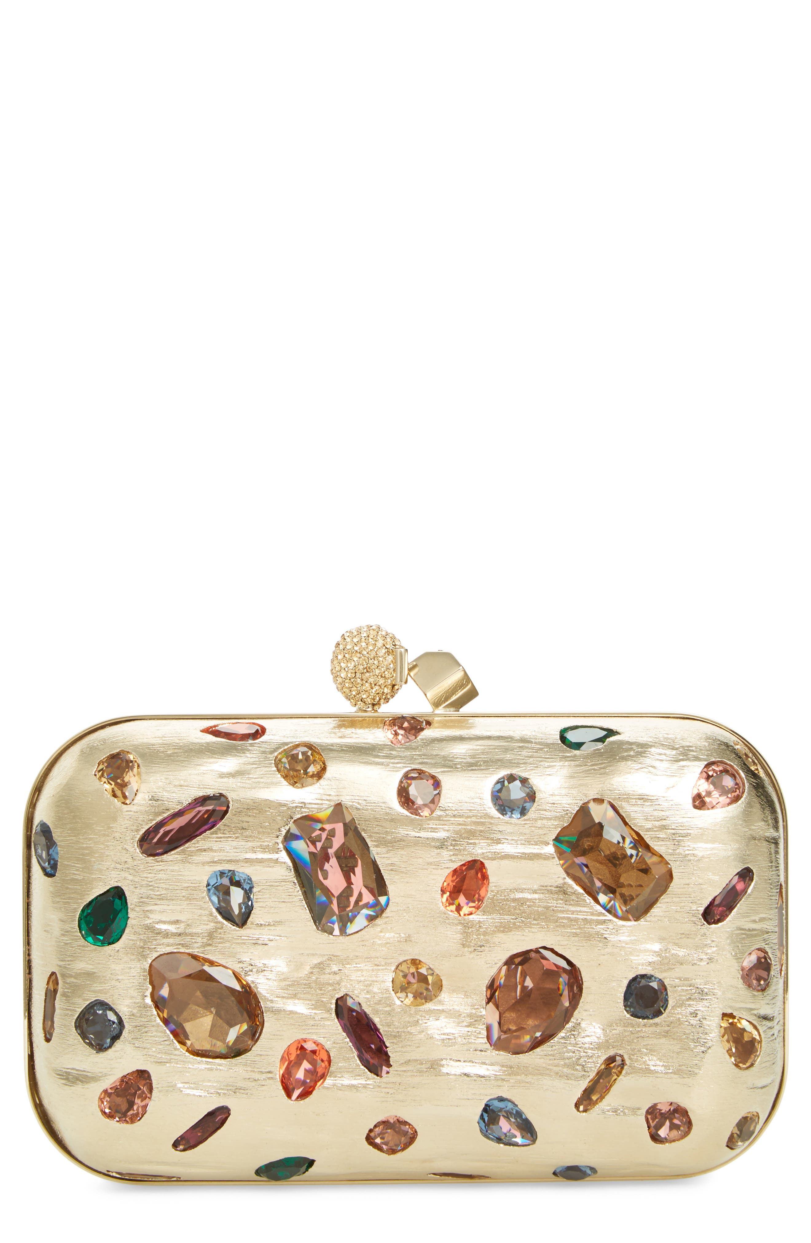 Cloud Minaudière Crystal Embellished Metallic Box Clutch,                         Main,                         color, GOLD MULTI