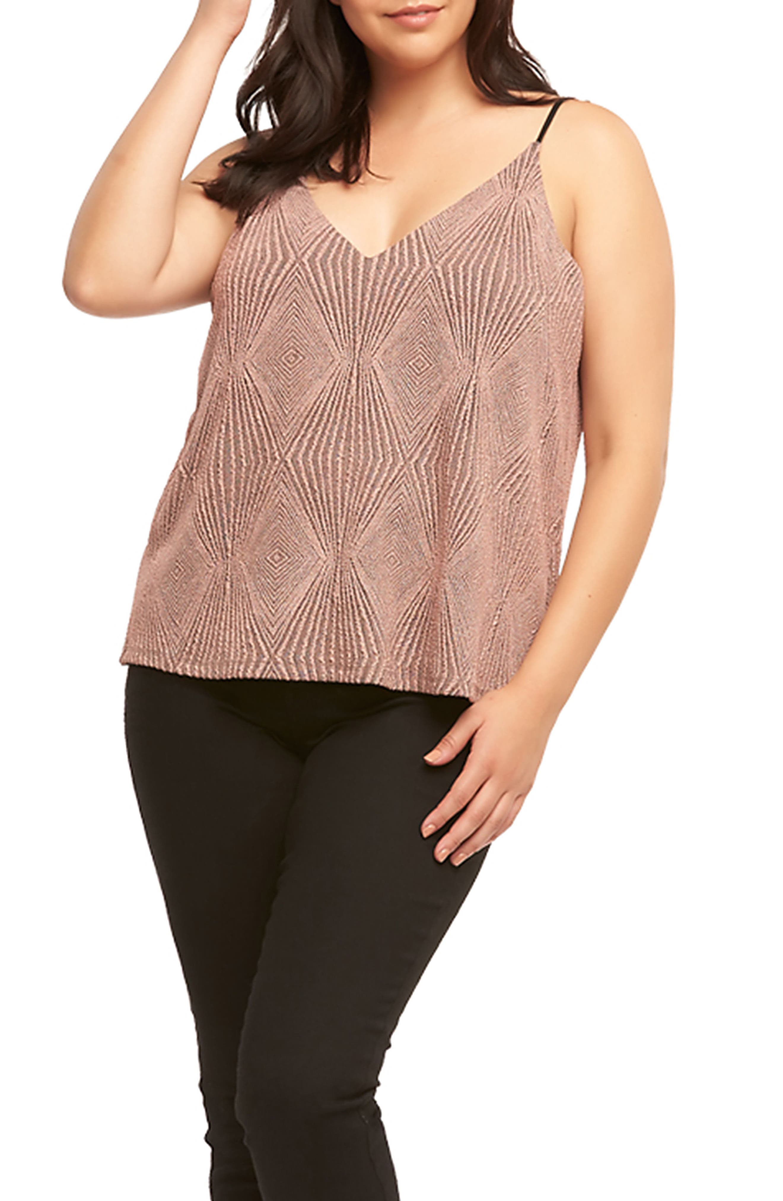 Marena Metallic V-Neck Tank,                             Alternate thumbnail 5, color,