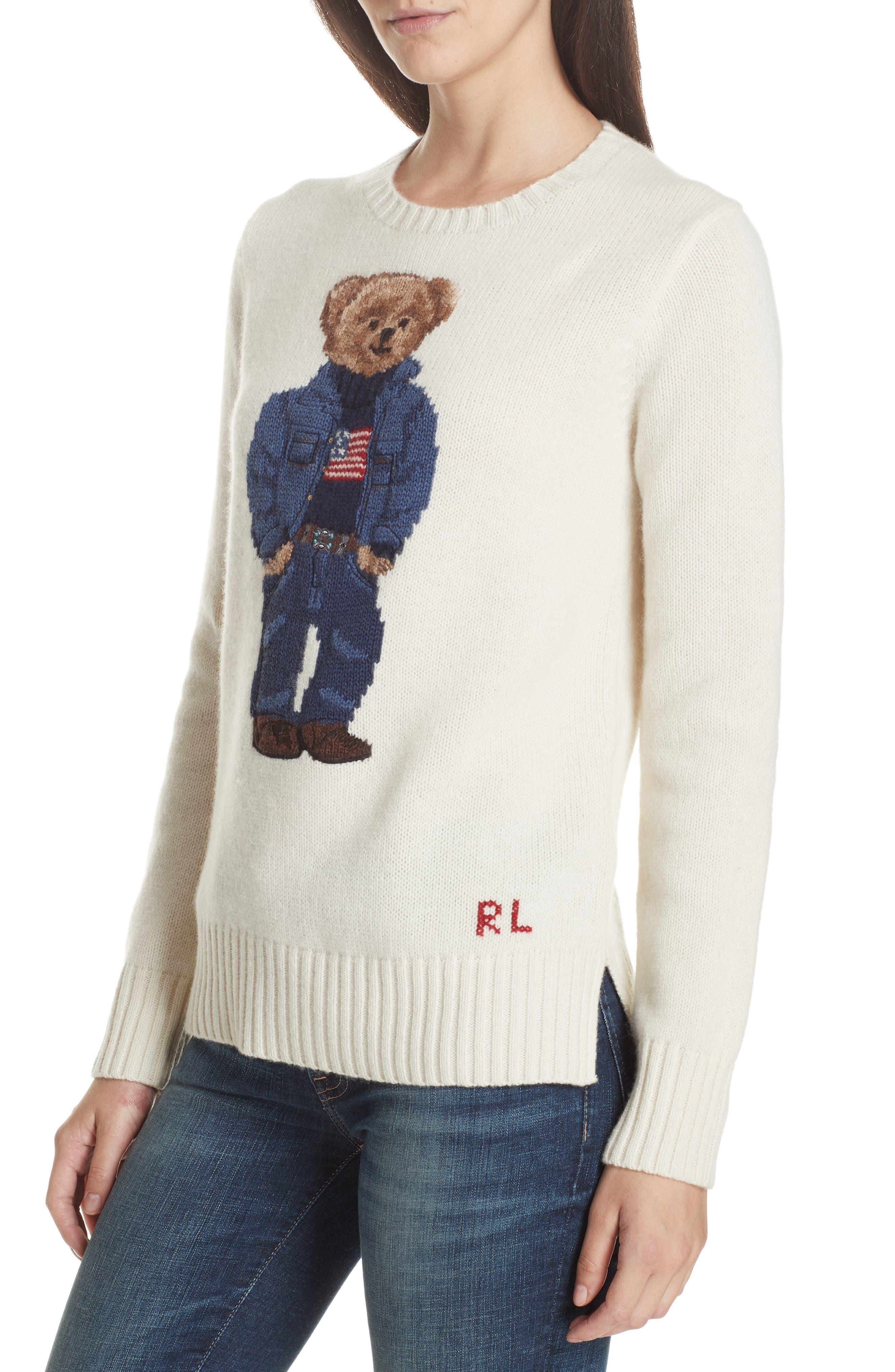 Bear Wool Sweater,                             Alternate thumbnail 2, color,                             CREAM
