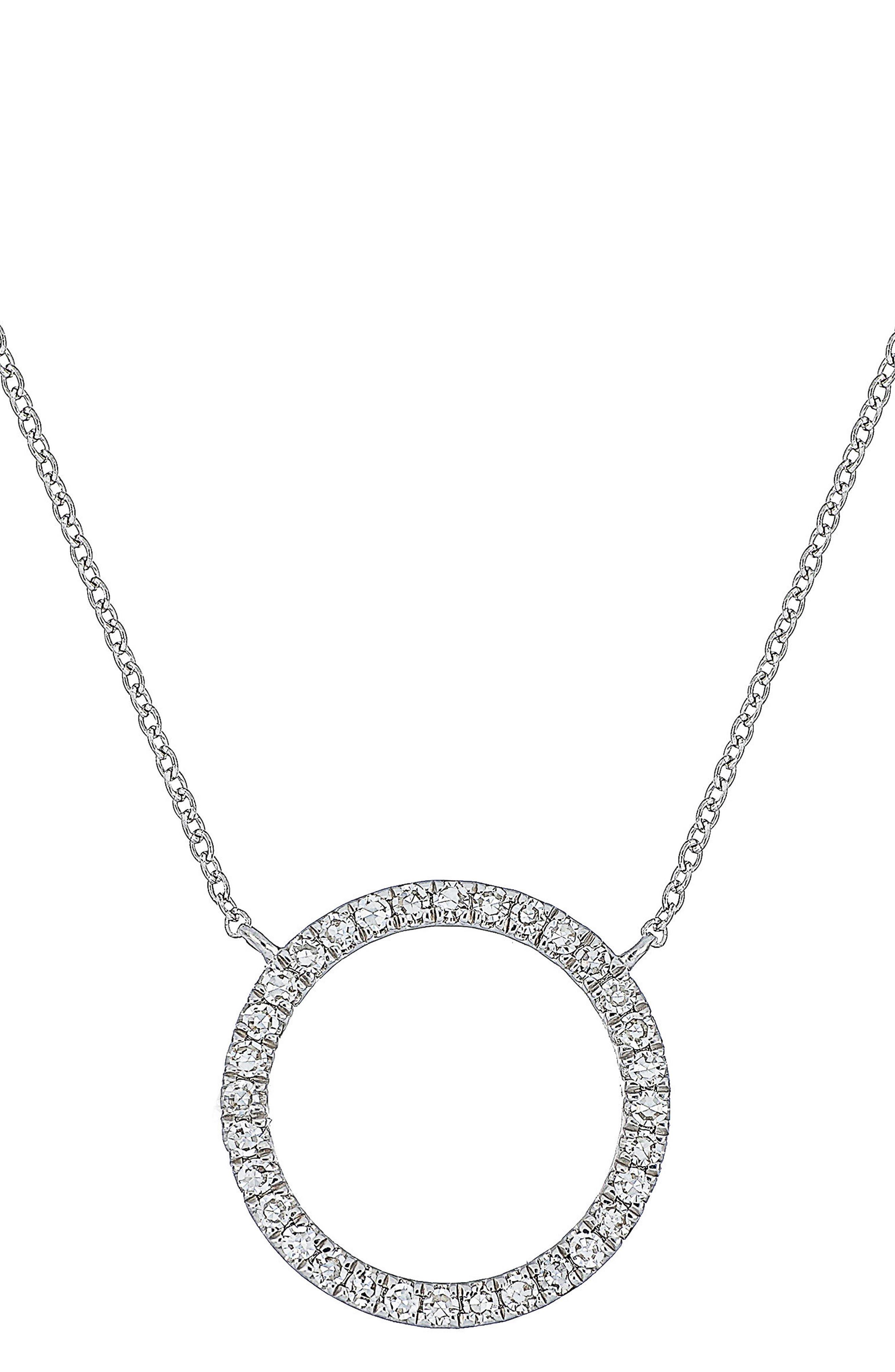 Carrière Diamond Circle Pendant Necklace,                             Main thumbnail 1, color,                             040