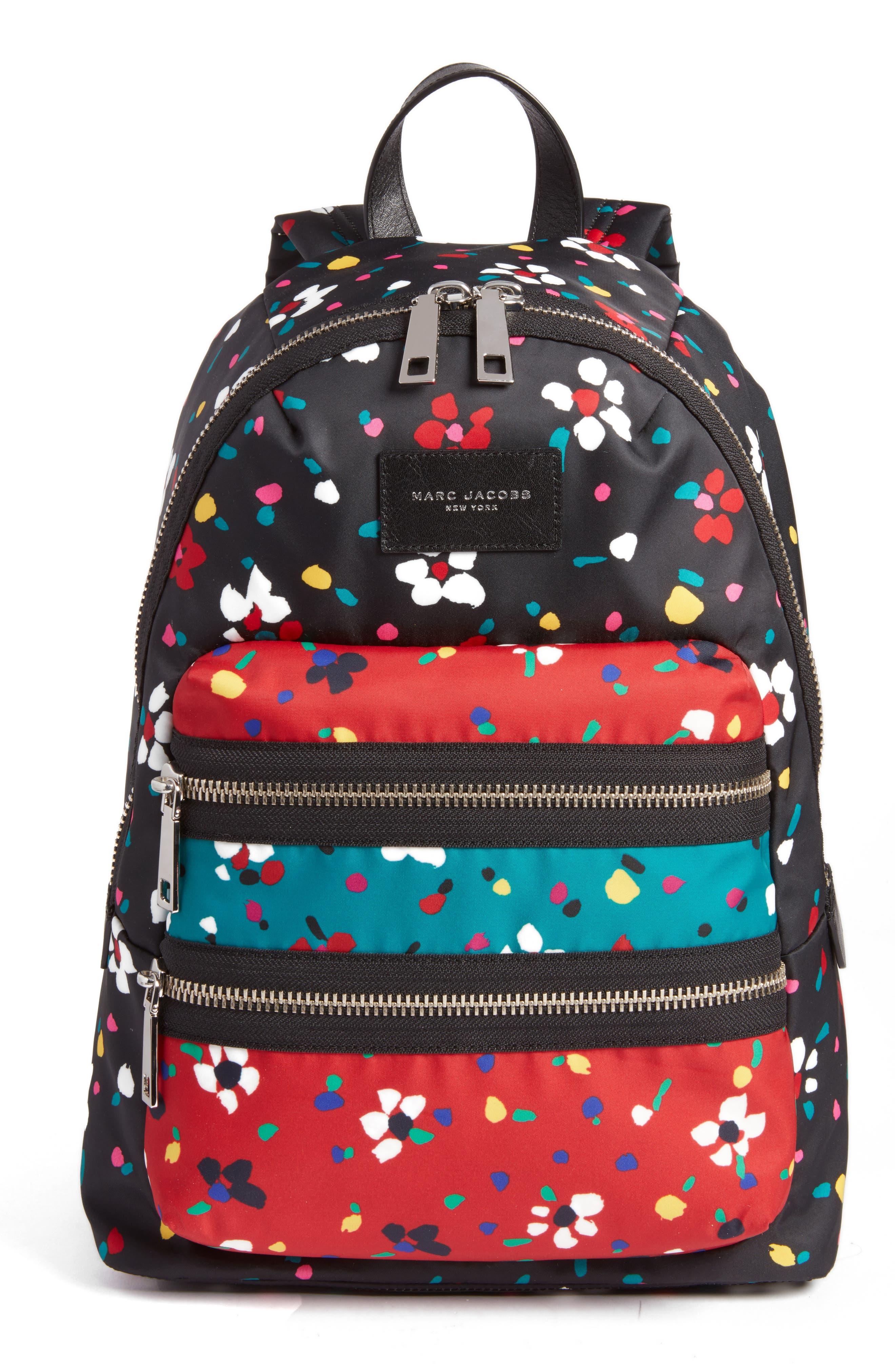 Biker Floral Print Backpack, Main, color, 002