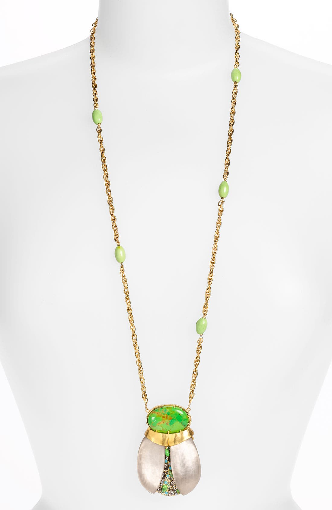 'O'Keeffe' Long Scarab Pendant Necklace, Main, color, 050