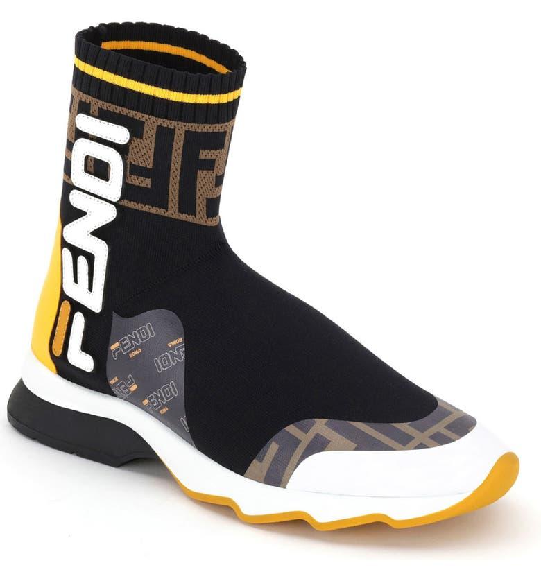 8bfa6bd65a6b Fendi Logo-AppliquÉD Rubber-Trimmed Stretch-Knit Slip-On Sneakers In Black