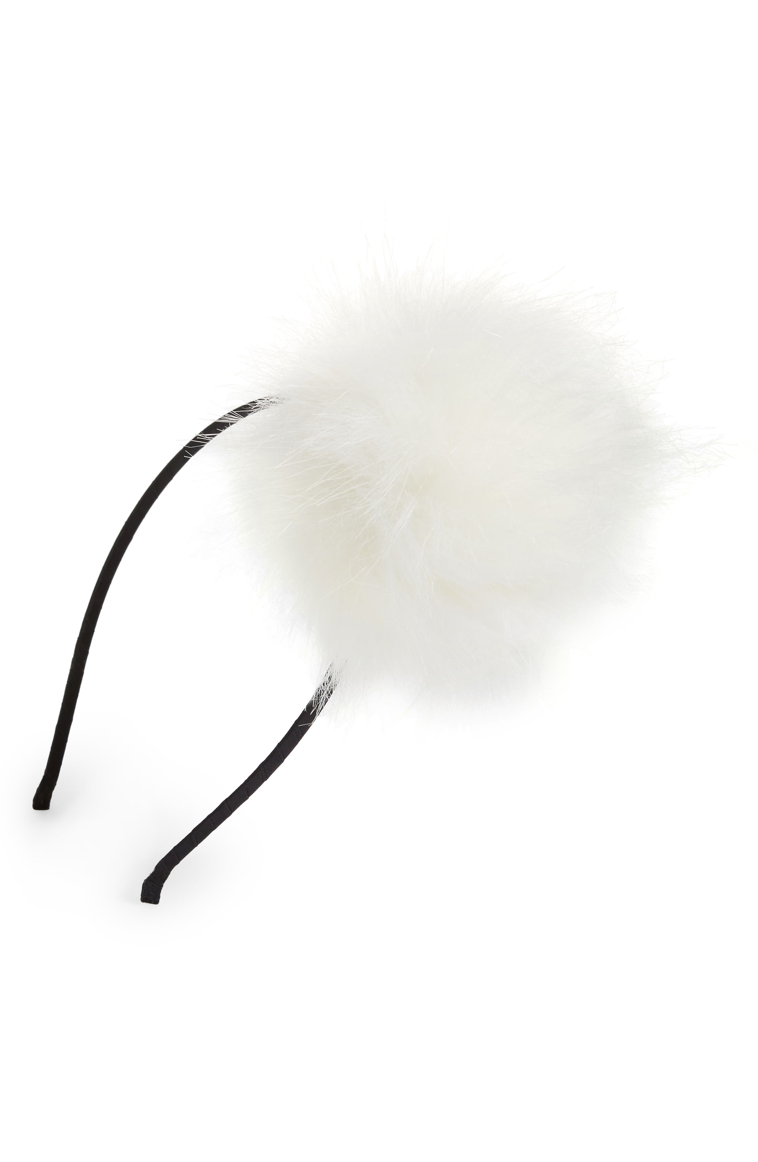 Faux Fur Pom Headband,                             Main thumbnail 2, color,