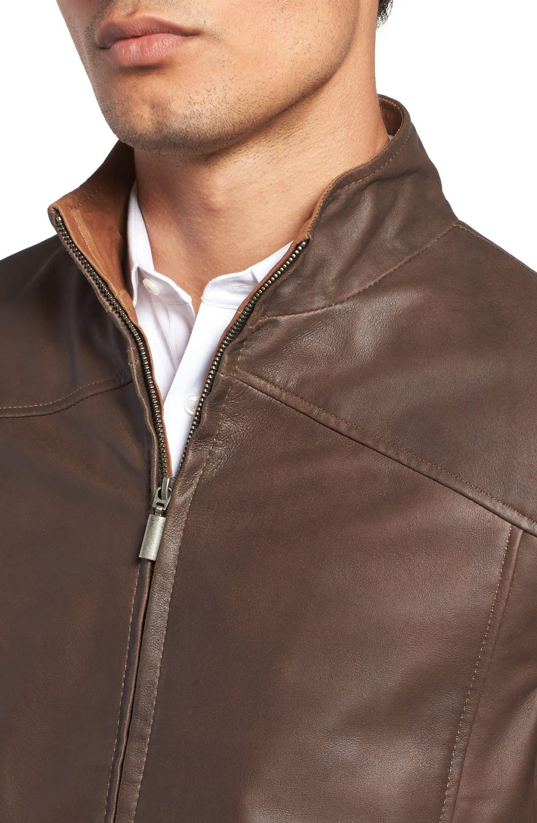 Leather Bomber Jacket,                             Alternate thumbnail 10, color,
