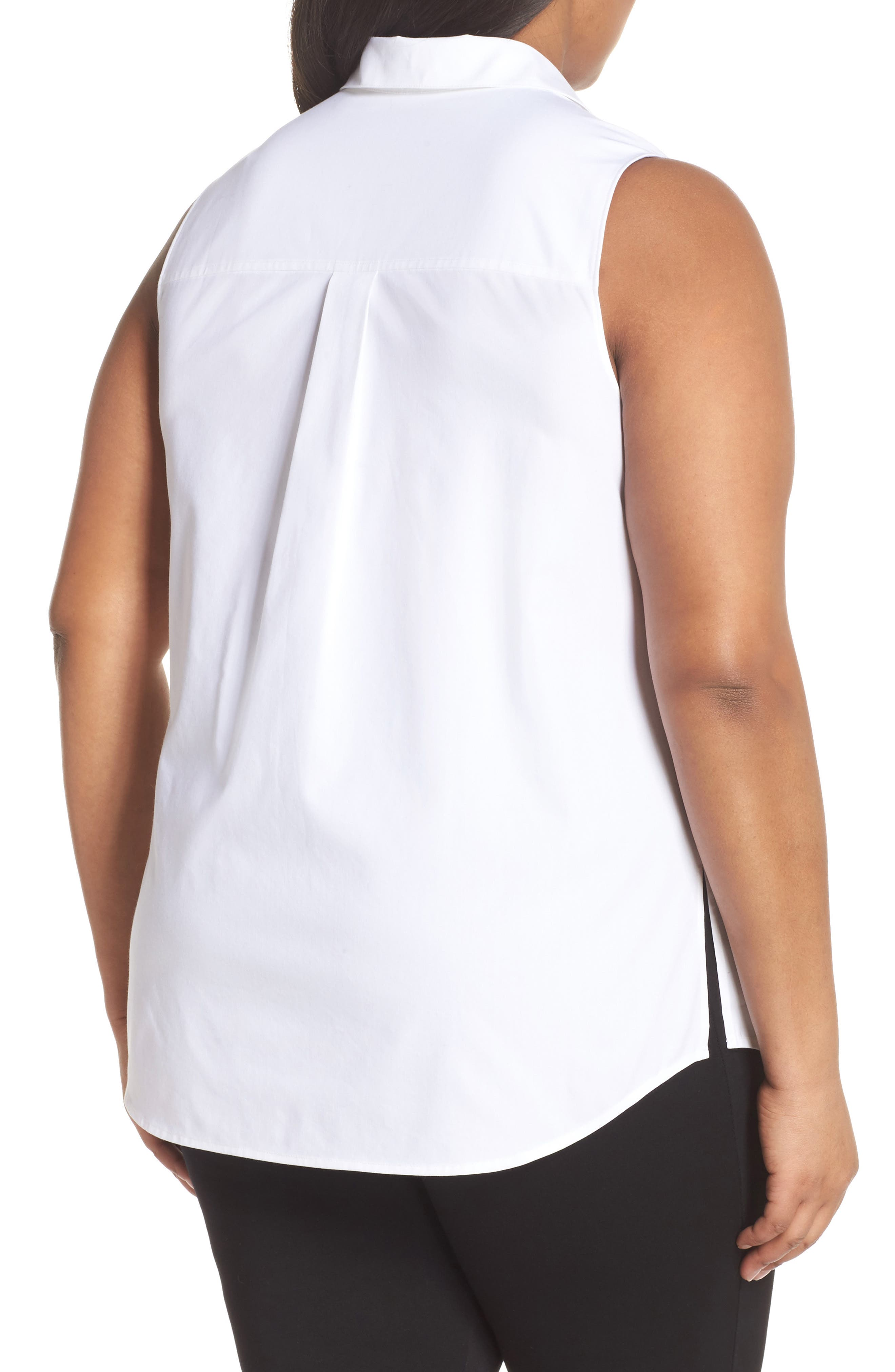 Sleeveless Button Front Top,                             Alternate thumbnail 2, color,                             100