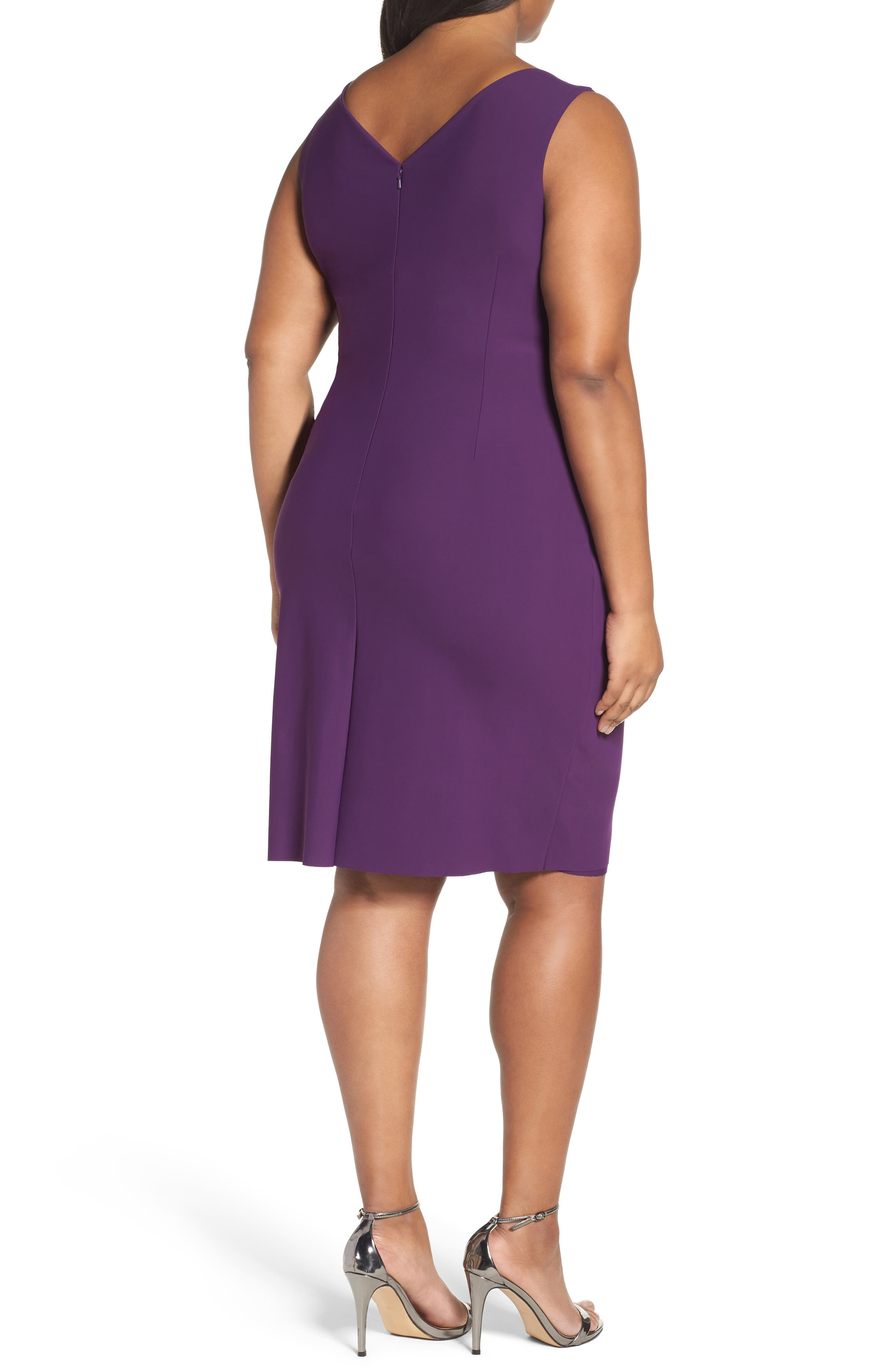 Embellished Surplice Sheath Dress,                             Alternate thumbnail 13, color,