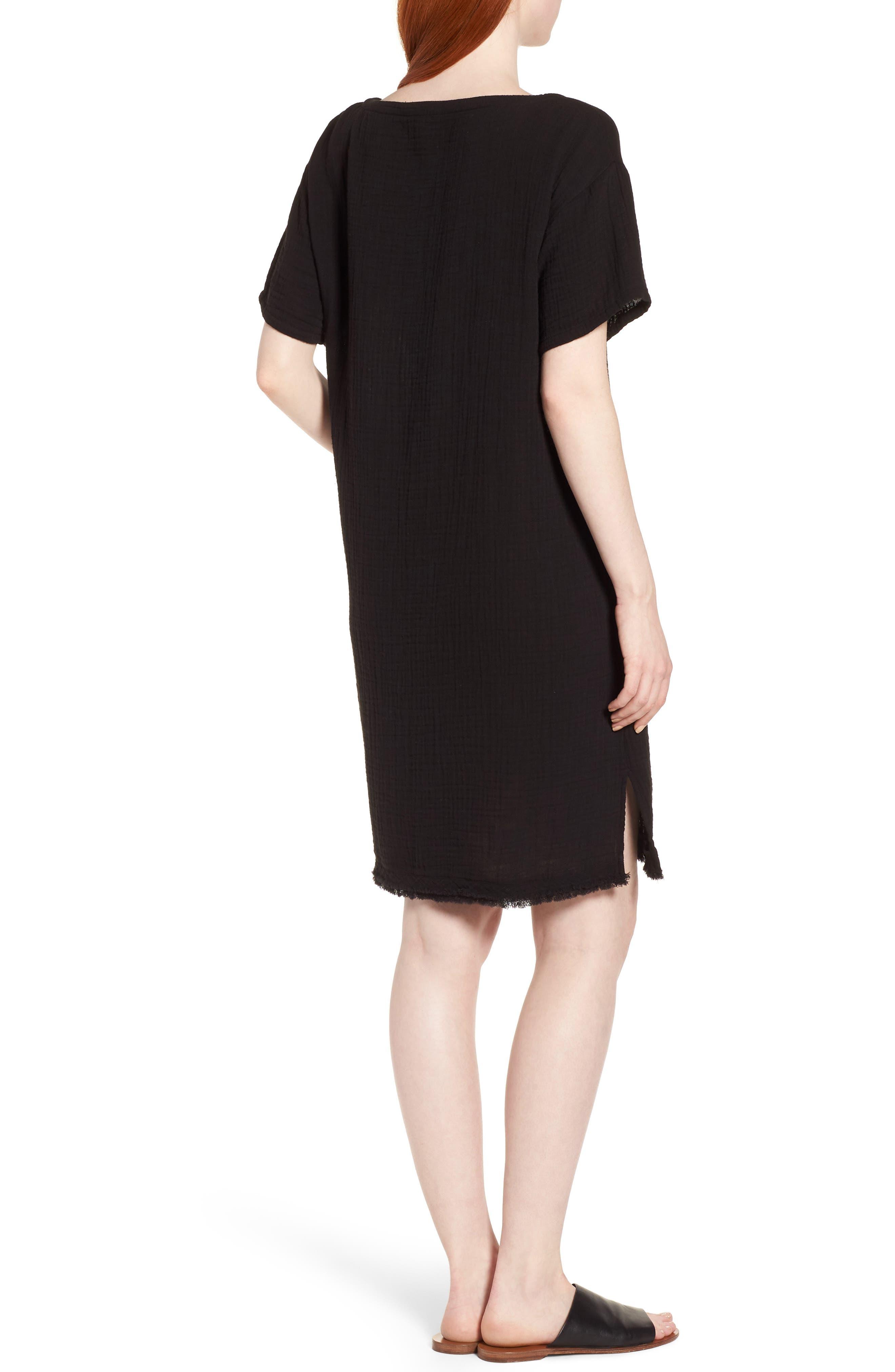 Organic Cotton Shift Dress,                             Alternate thumbnail 2, color,                             001
