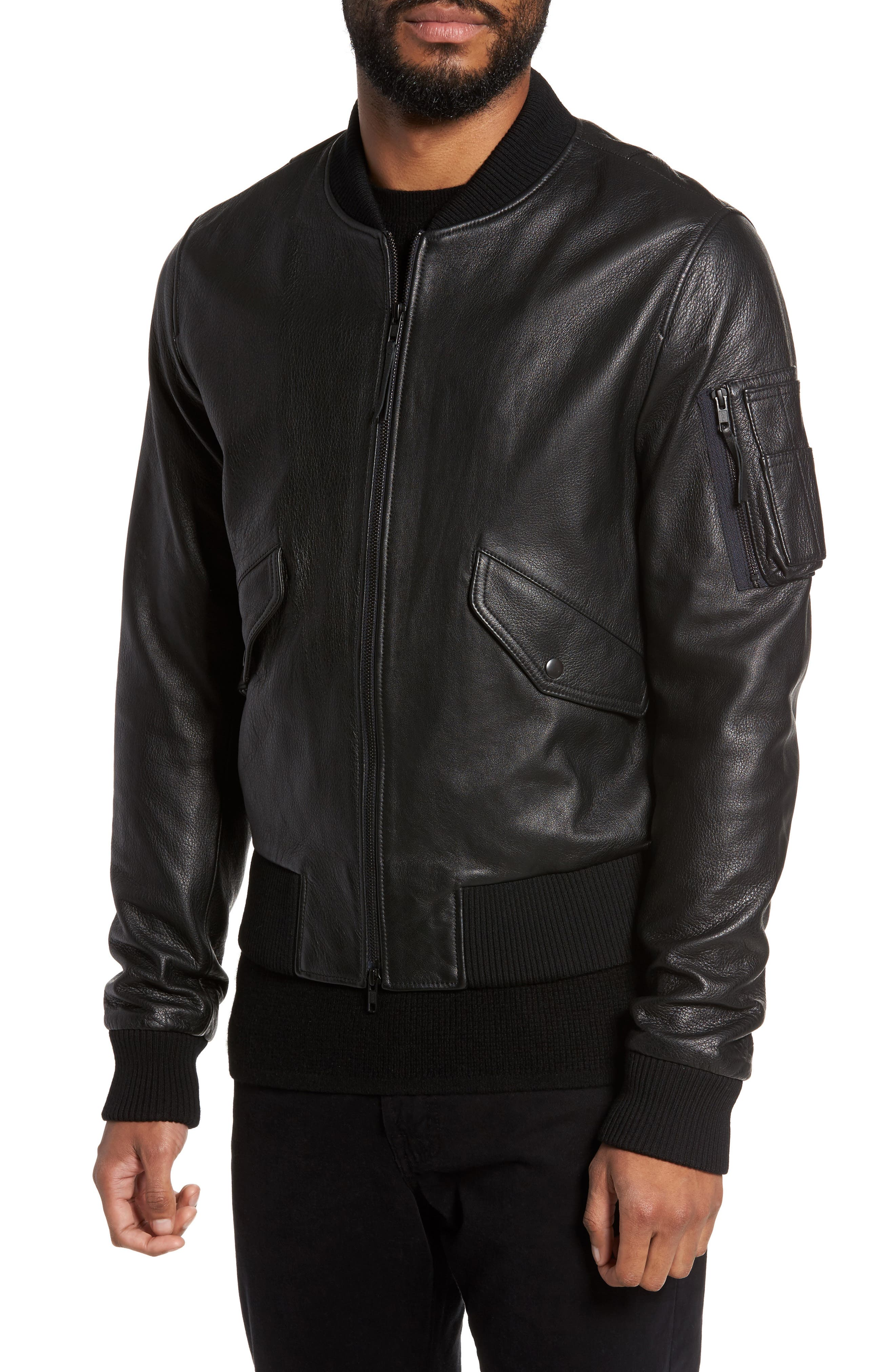 Lambskin Bomber Jacket,                             Alternate thumbnail 4, color,                             001