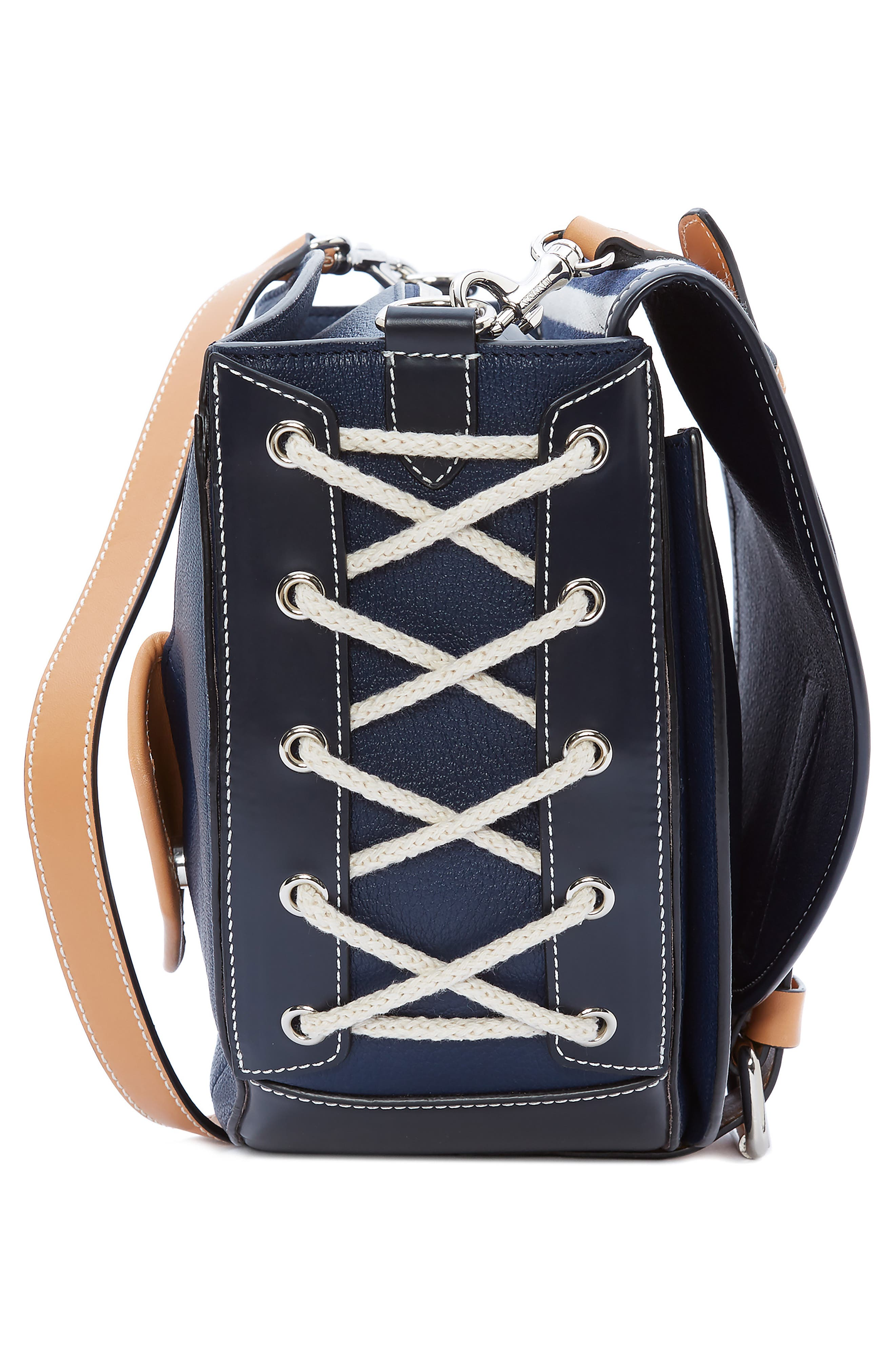 JW ANDERSON,                             Small Bike Leather & Canvas Crossbody Bag,                             Alternate thumbnail 4, color,                             NAVY BRETON