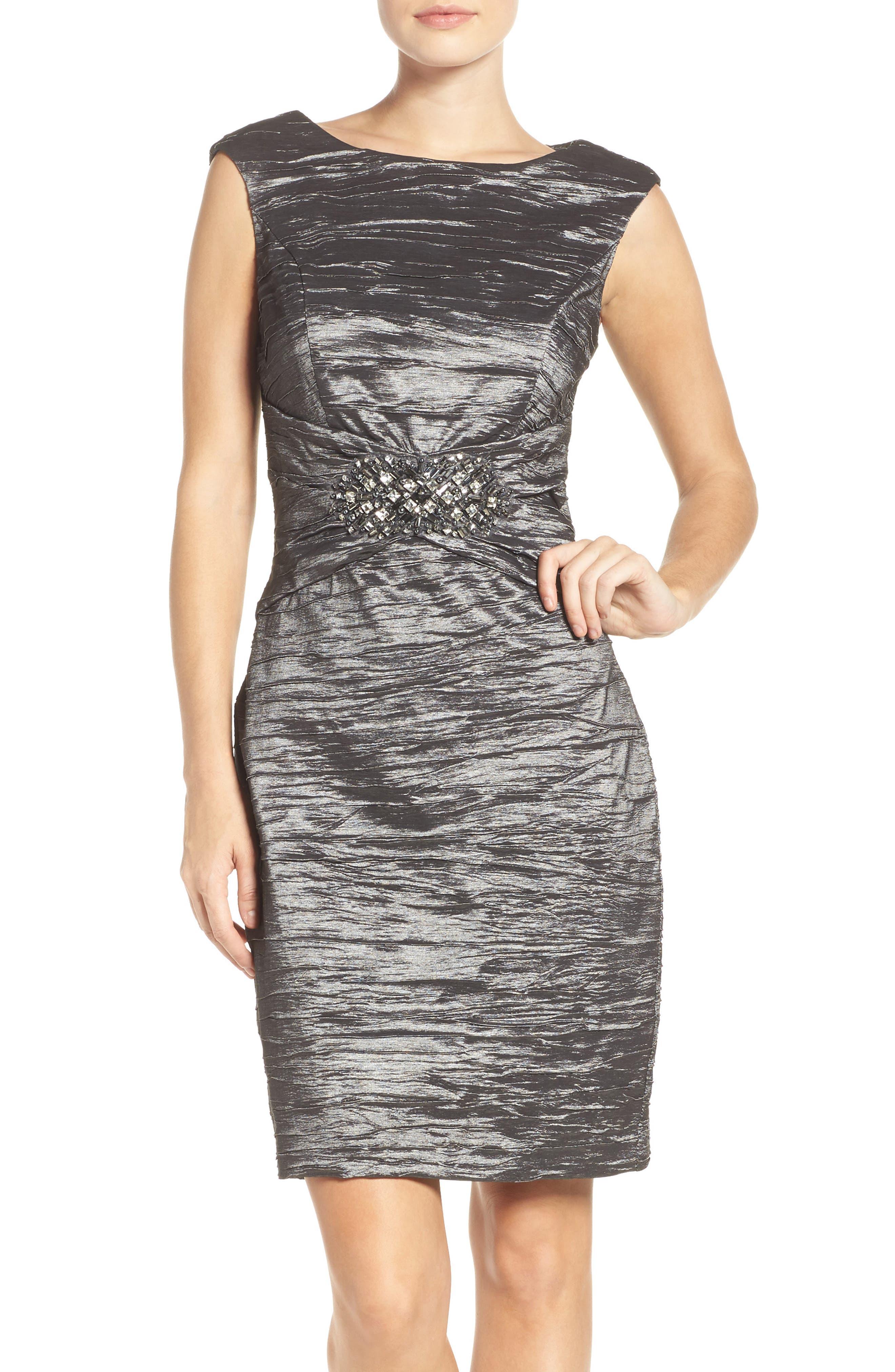 Embellished Taffeta Sheath Dress,                             Alternate thumbnail 4, color,