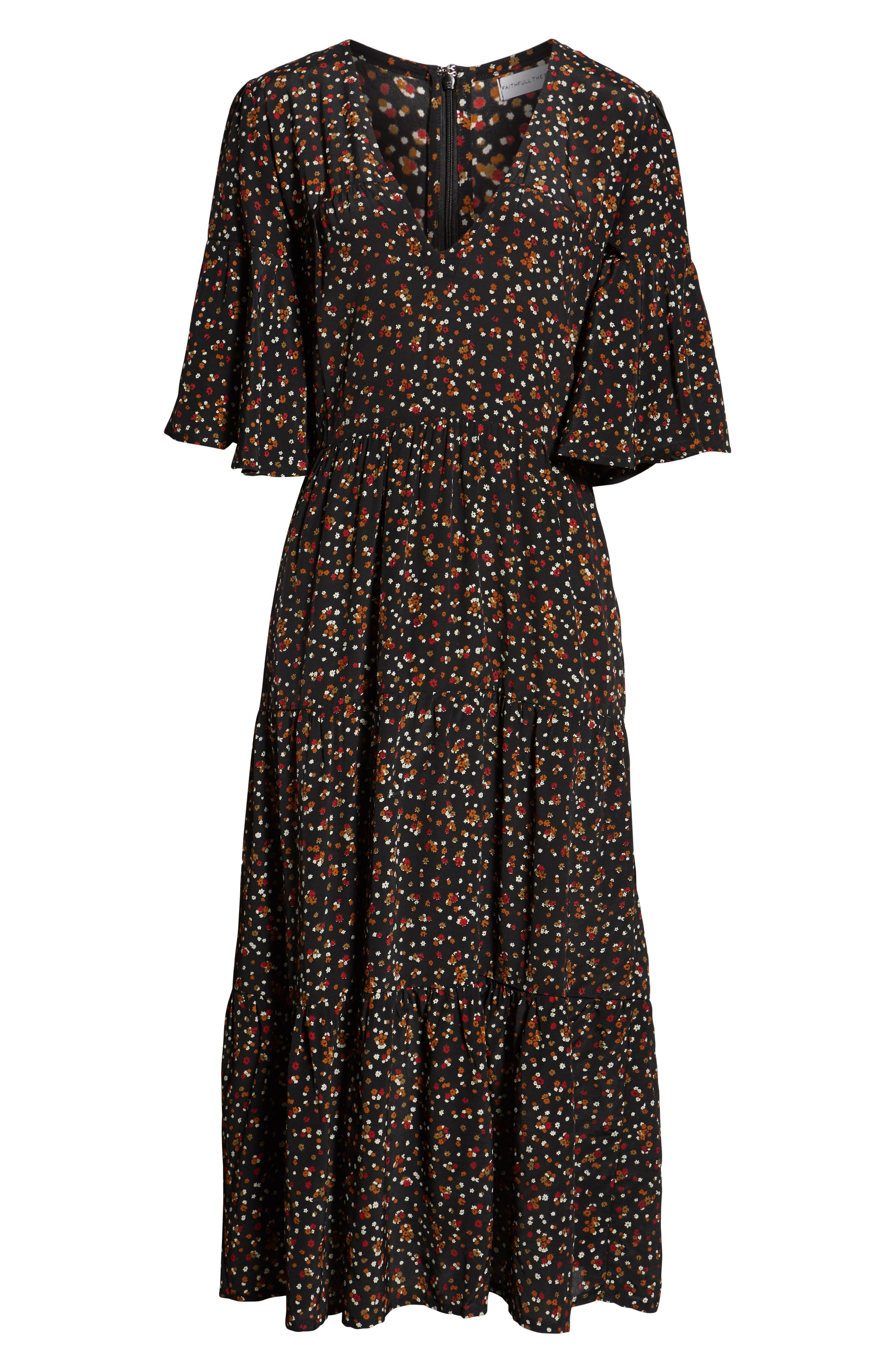 Melia Ditsy Floral Print Midi Dress,                             Alternate thumbnail 4, color,                             001
