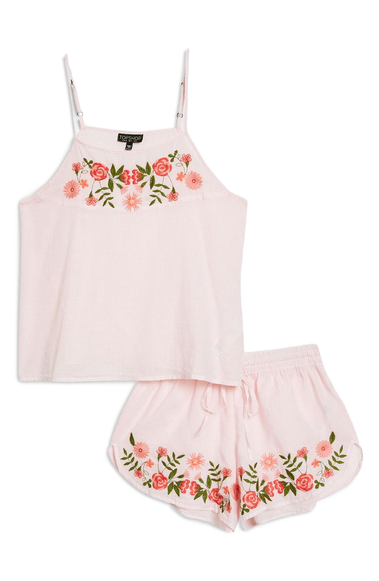 Embroidered Gingham Short Pajamas,                             Alternate thumbnail 4, color,                             650