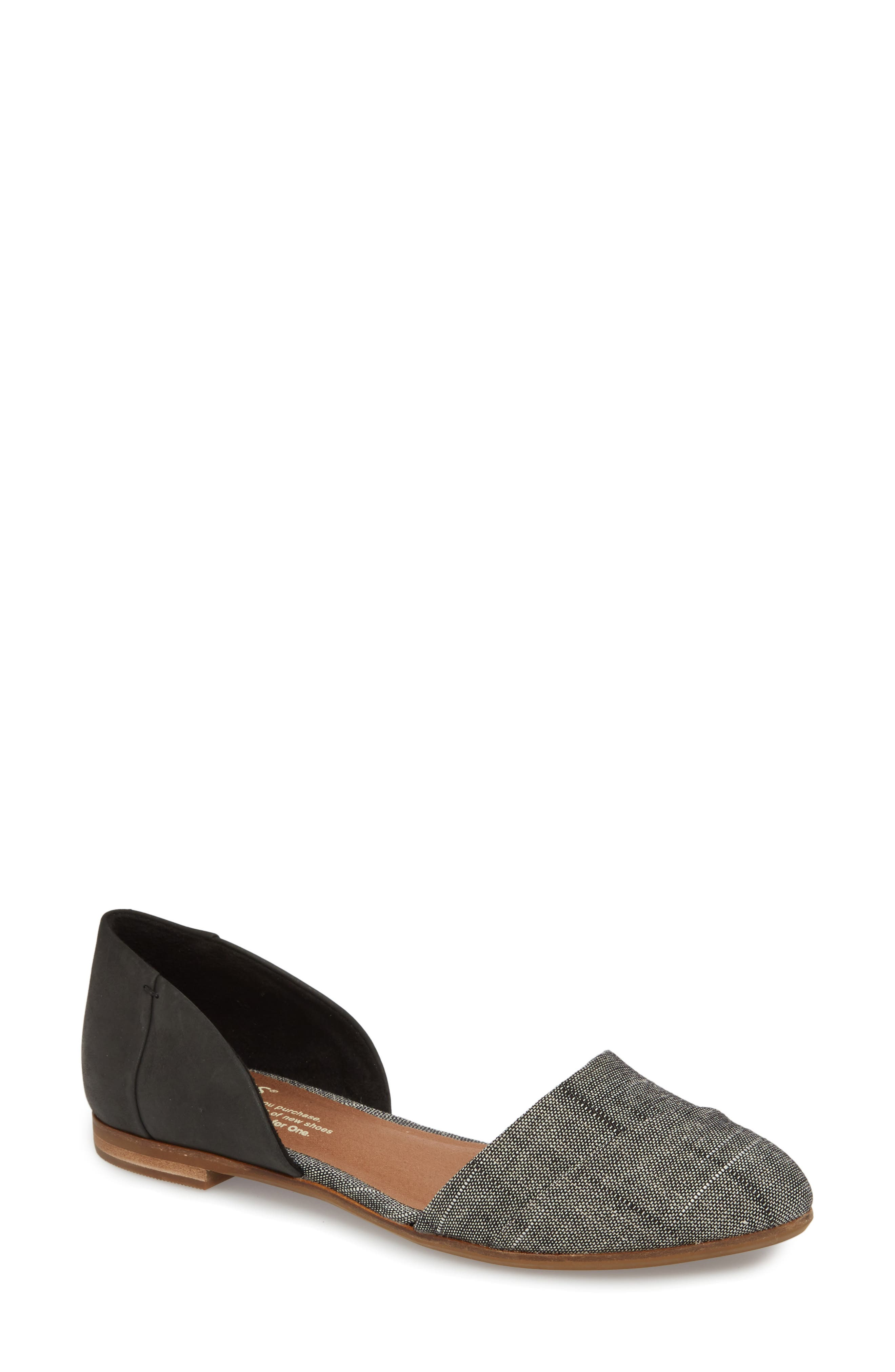 Jutti d'Orsay Flat,                             Main thumbnail 1, color,                             BLACK LEATHER/ CHAMBRAY