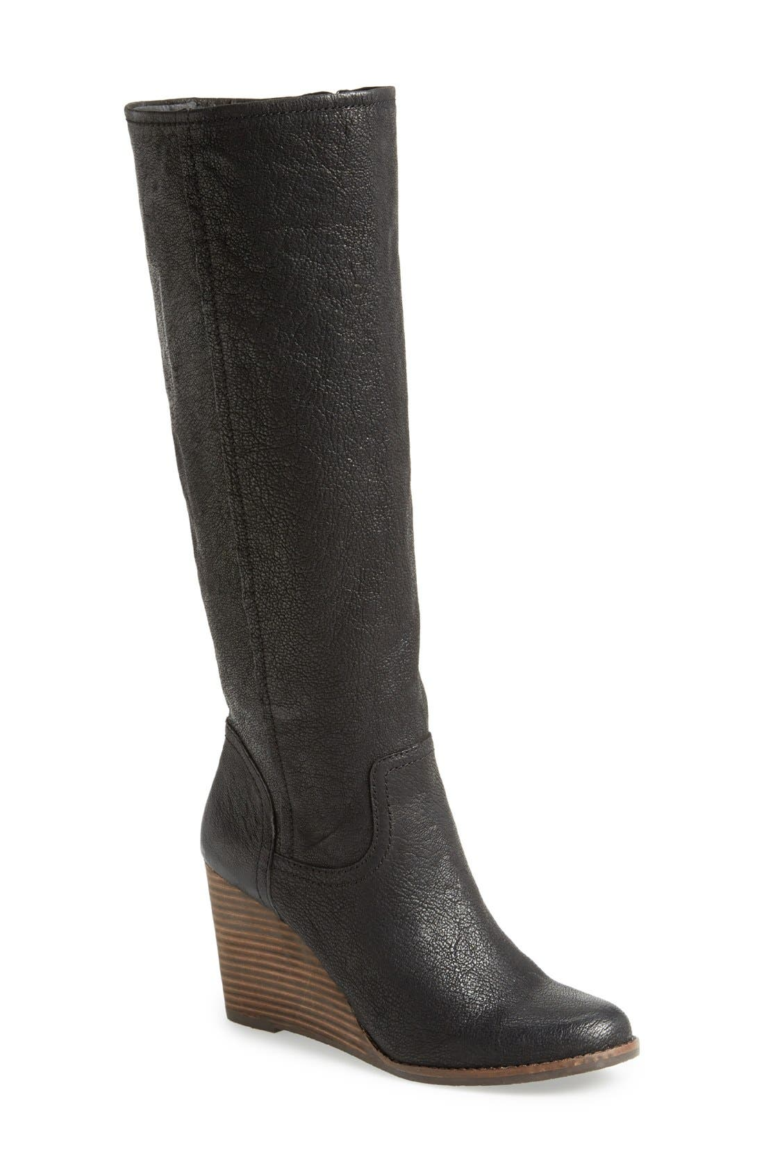 'Yacie' Leather Wedge Boot,                             Main thumbnail 1, color,                             002