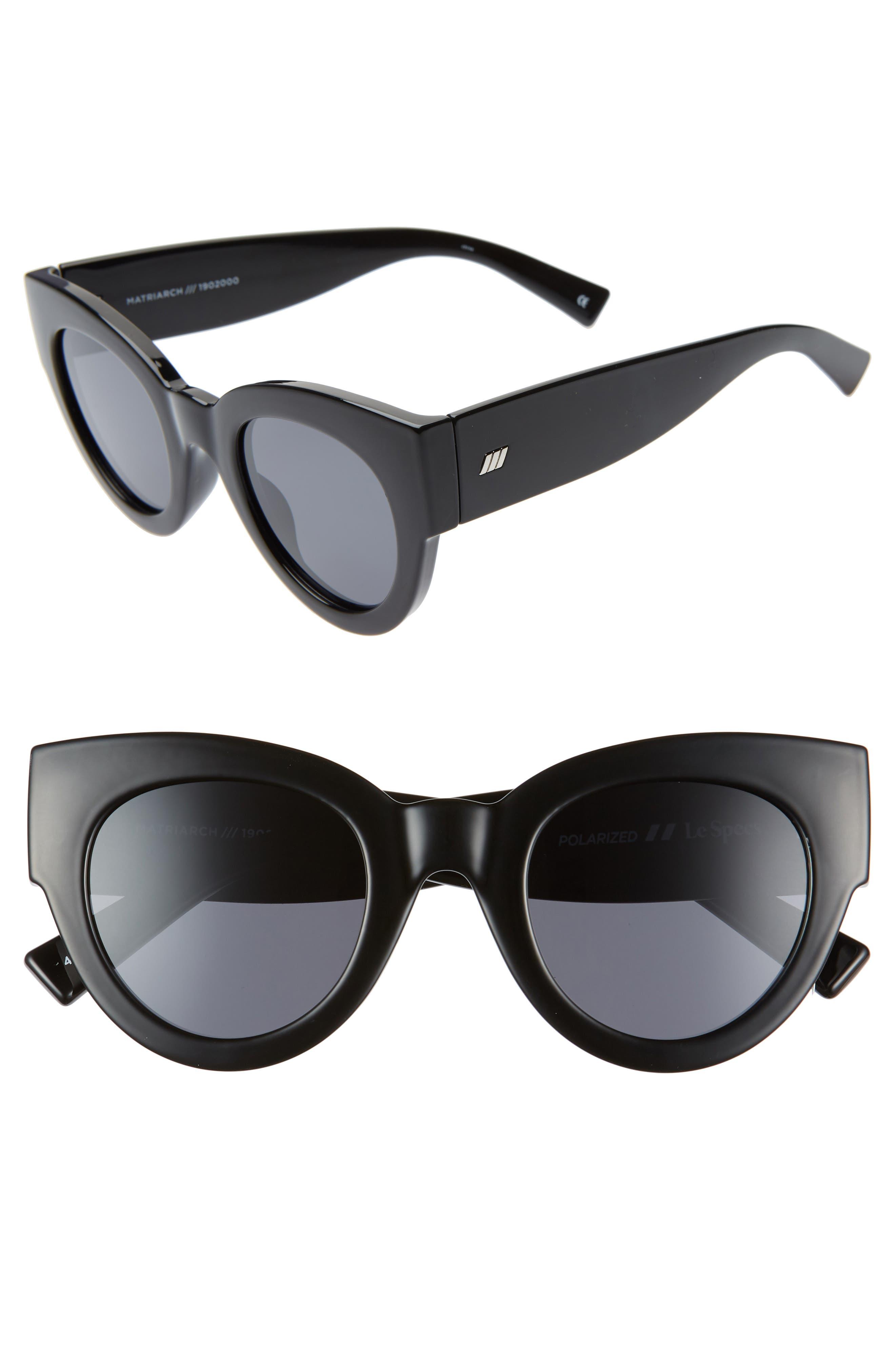 Le Specs Matriarch 4m Polarized Cat Eye Sunglasses - Black/ Black