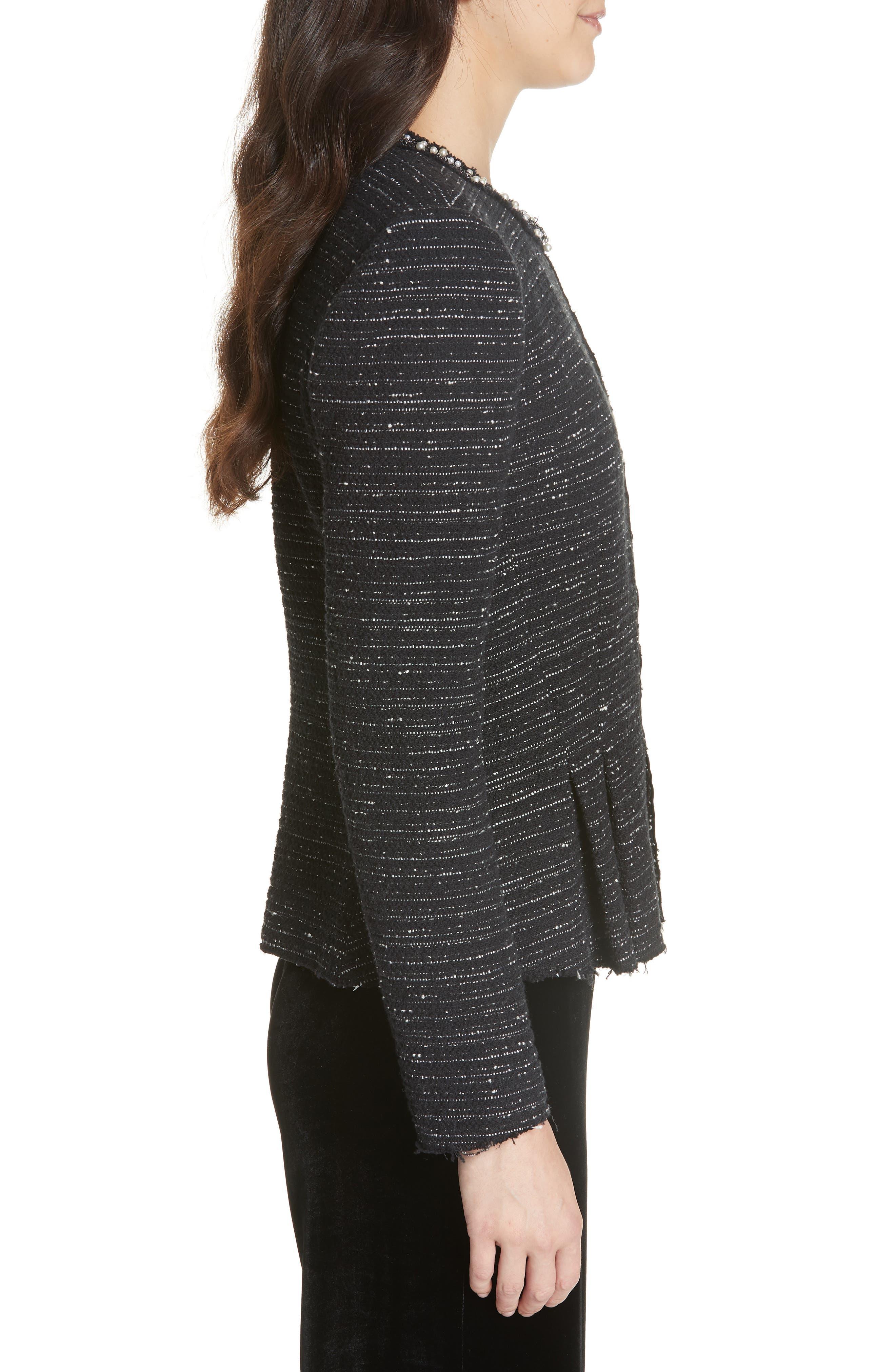 Embellished Stretch Tweed Jacket,                             Alternate thumbnail 3, color,                             BLACK COMBO