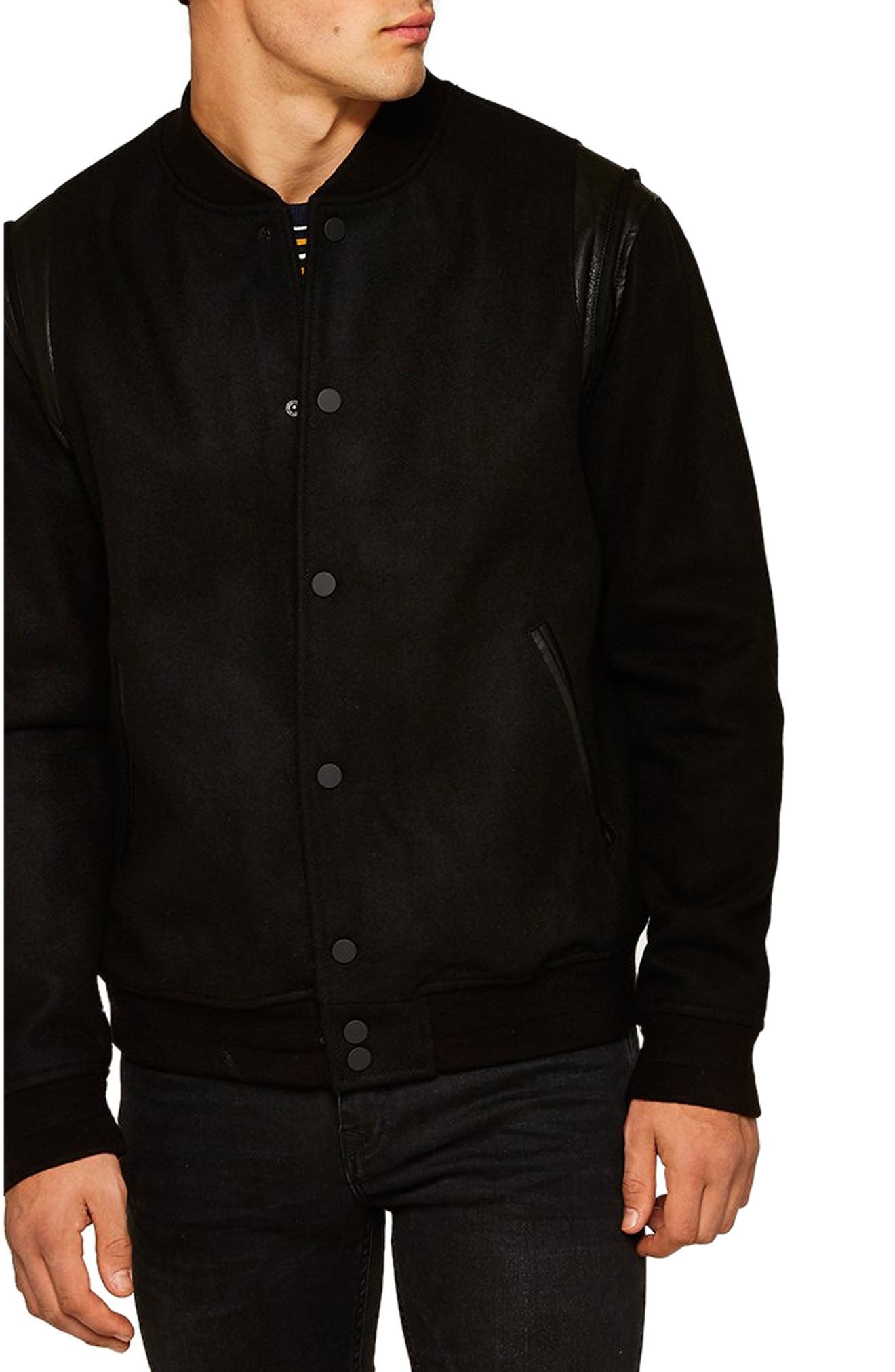 Wool Blend Varsity Jacket,                         Main,                         color, BLACK