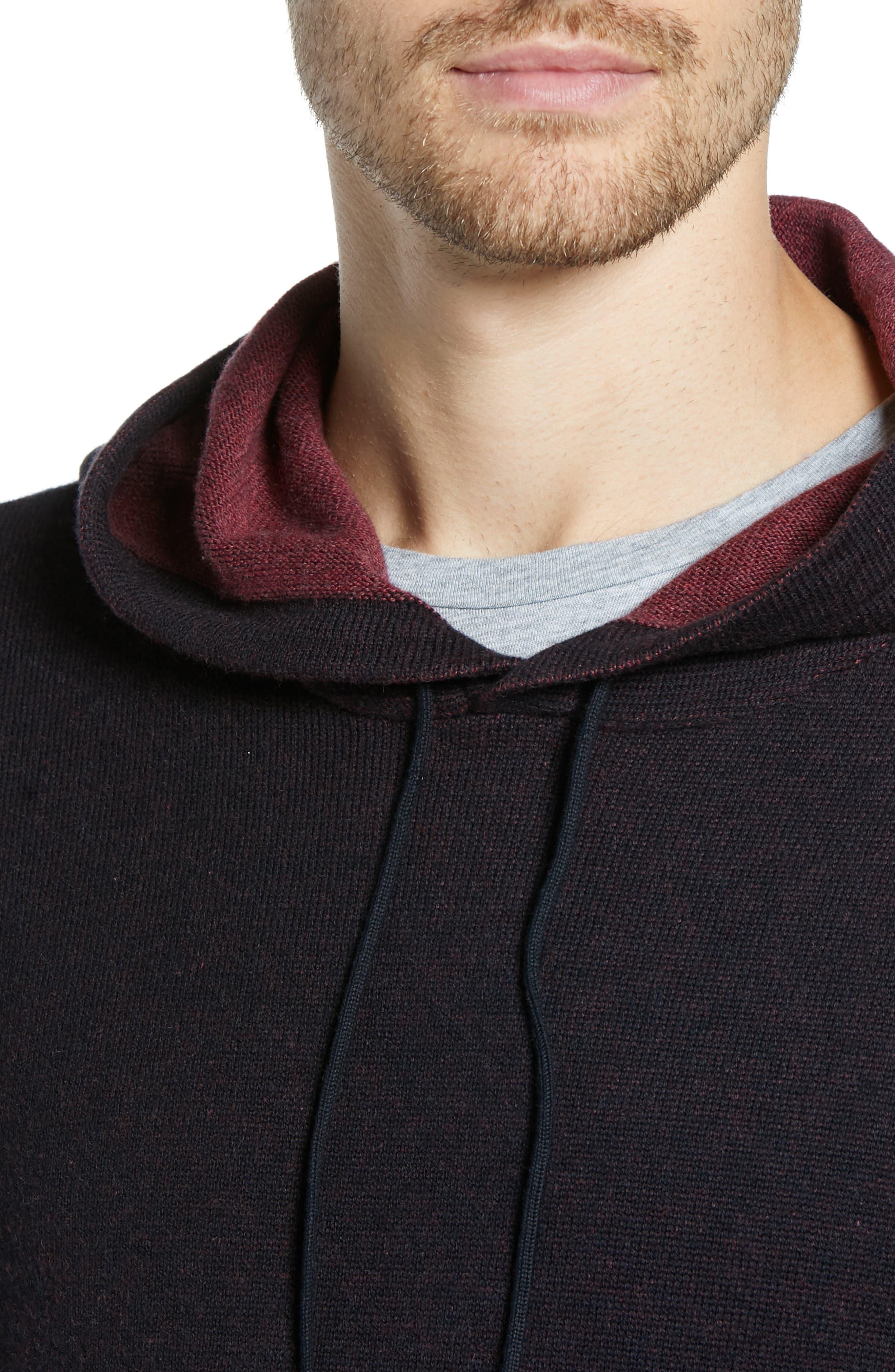 Regular Fit Cotton & Cashmere Hoodie,                             Alternate thumbnail 4, color,                             BLACK CAVIAR