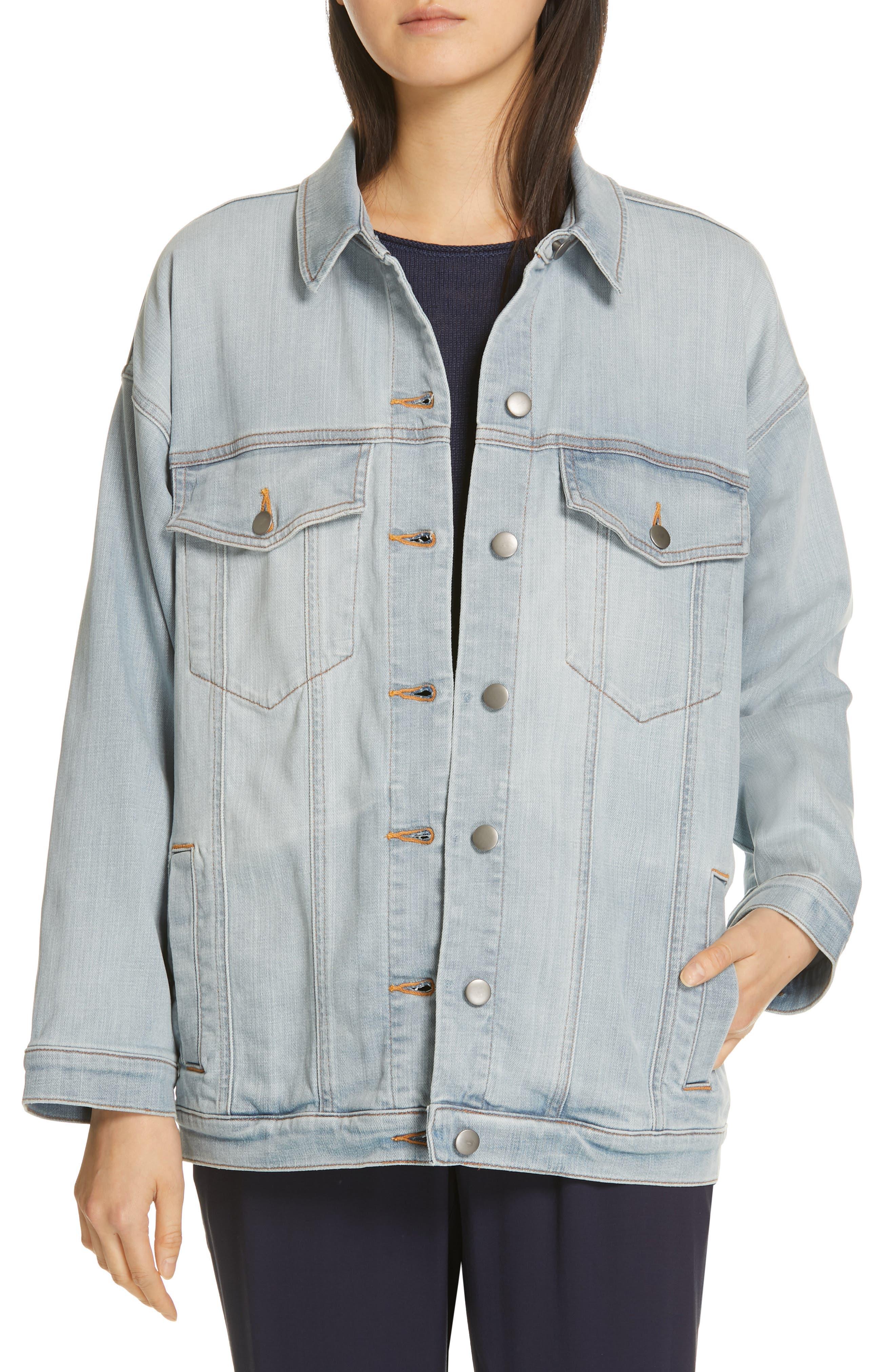 Oversize Stretch Organic Cotton Denim Jacket, Main, color, ICE BLUE