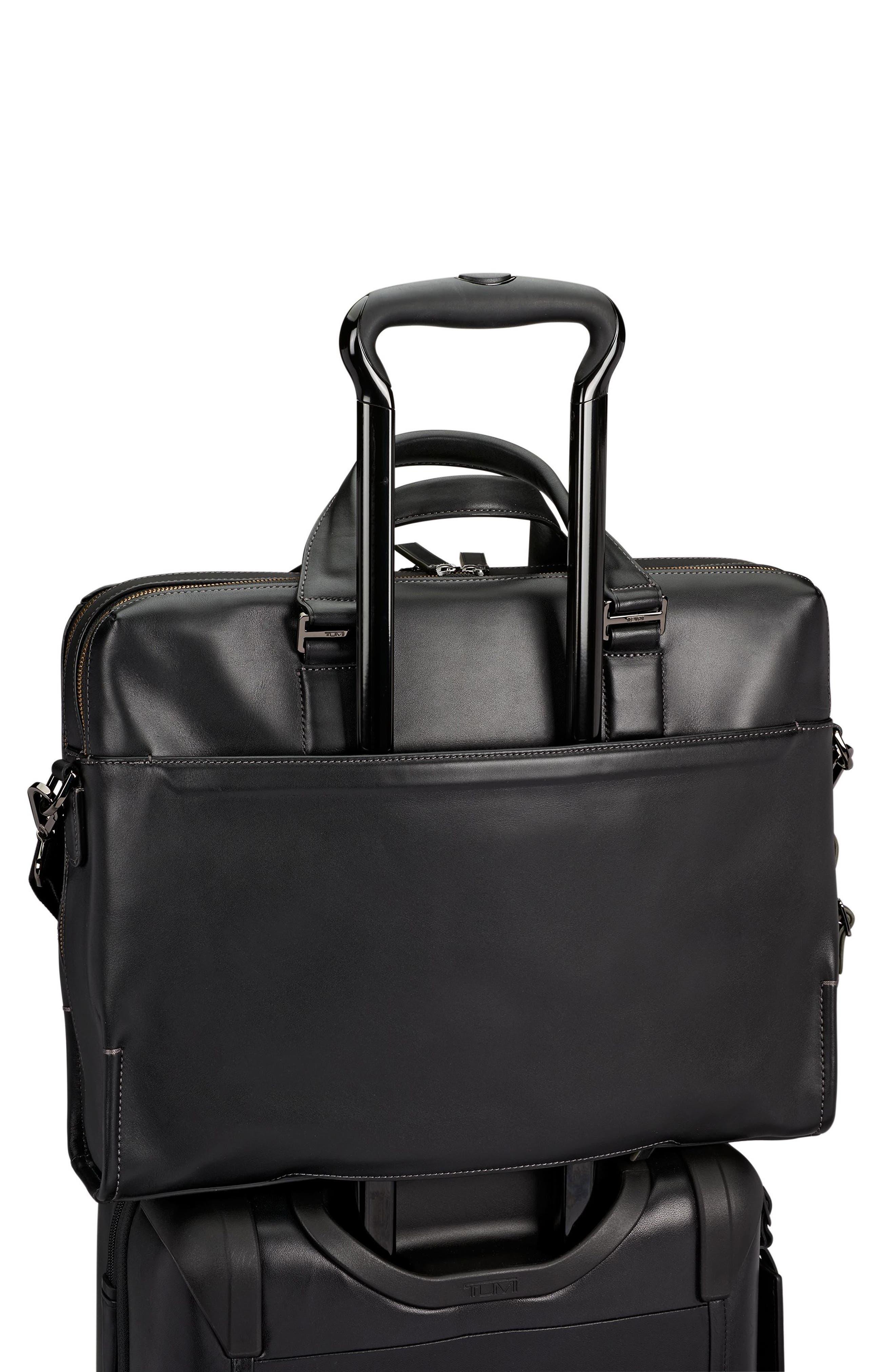 Harrison Horton Double Zip Leather Briefcase,                             Alternate thumbnail 5, color,                             001