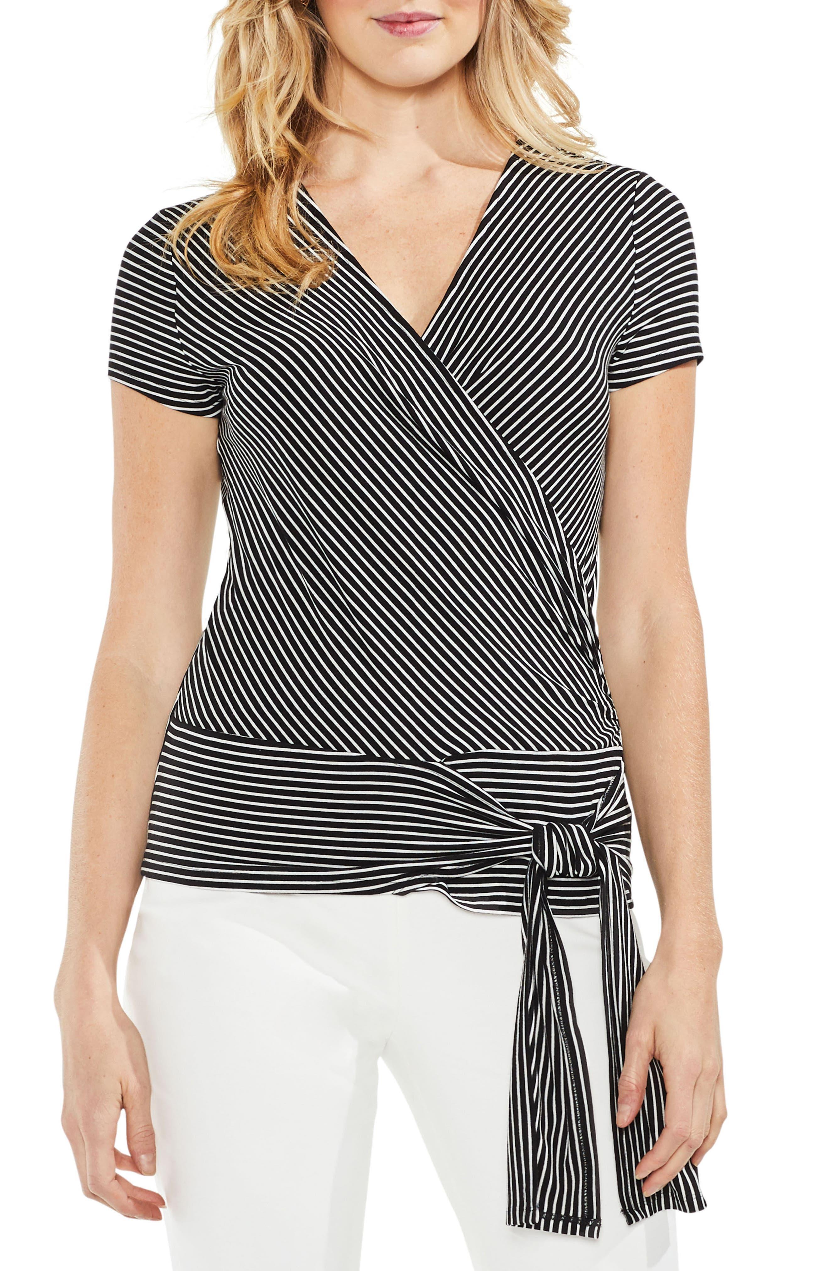 Faux Wrap Tie Waist Stripe Top,                             Main thumbnail 1, color,