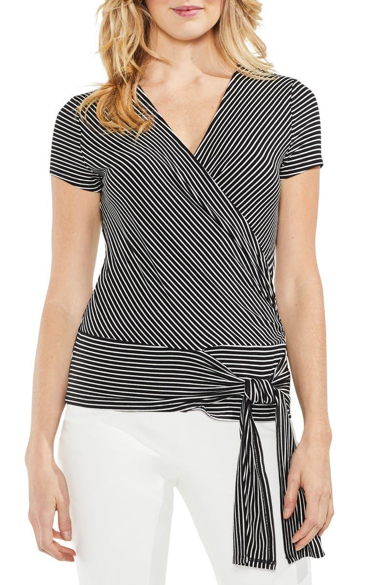 848747ad5db VINCE CAMUTO Faux Wrap Tie Waist Stripe Top