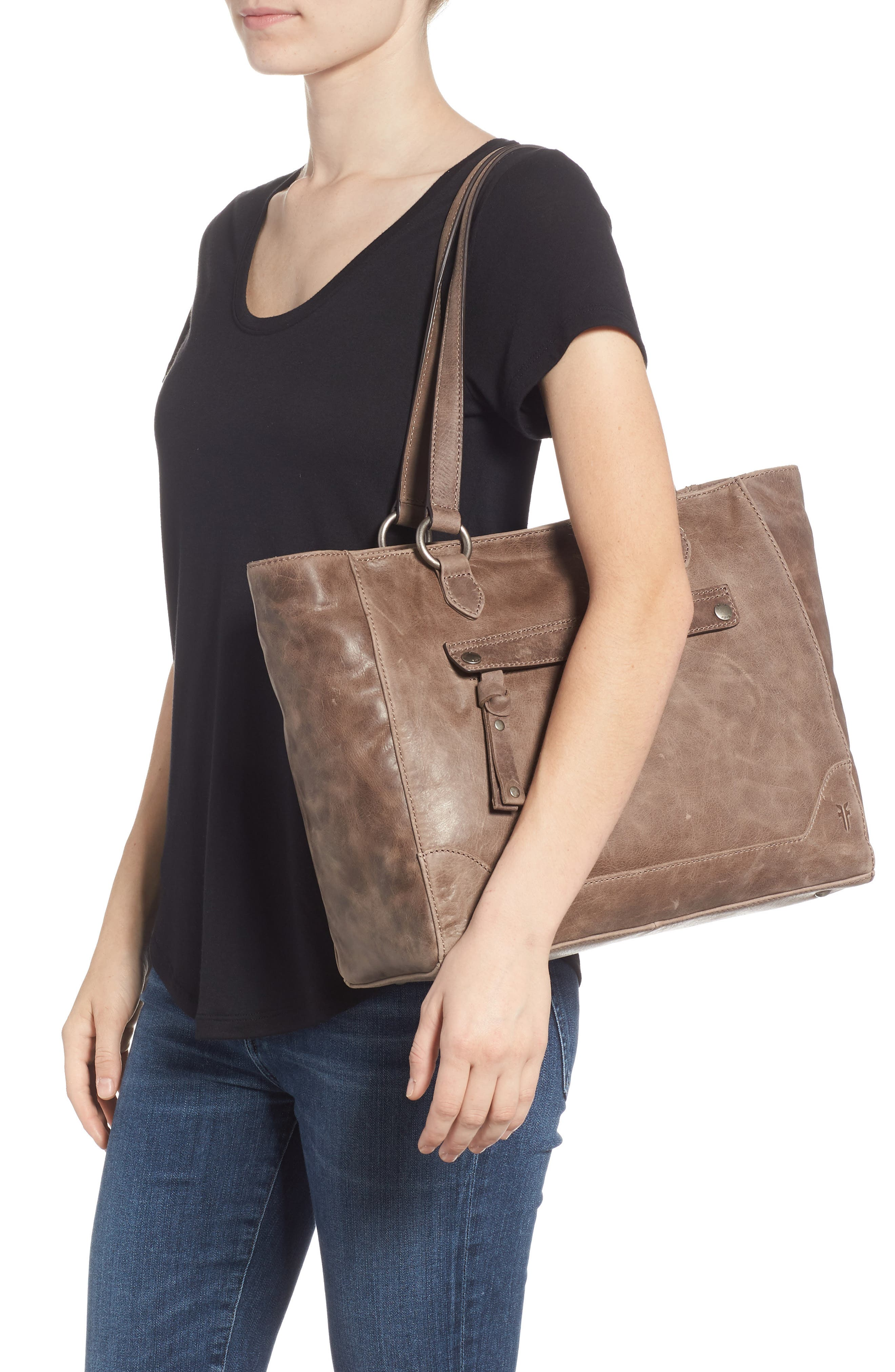 Melissa Zip Leather Tote,                             Alternate thumbnail 2, color,                             GREY