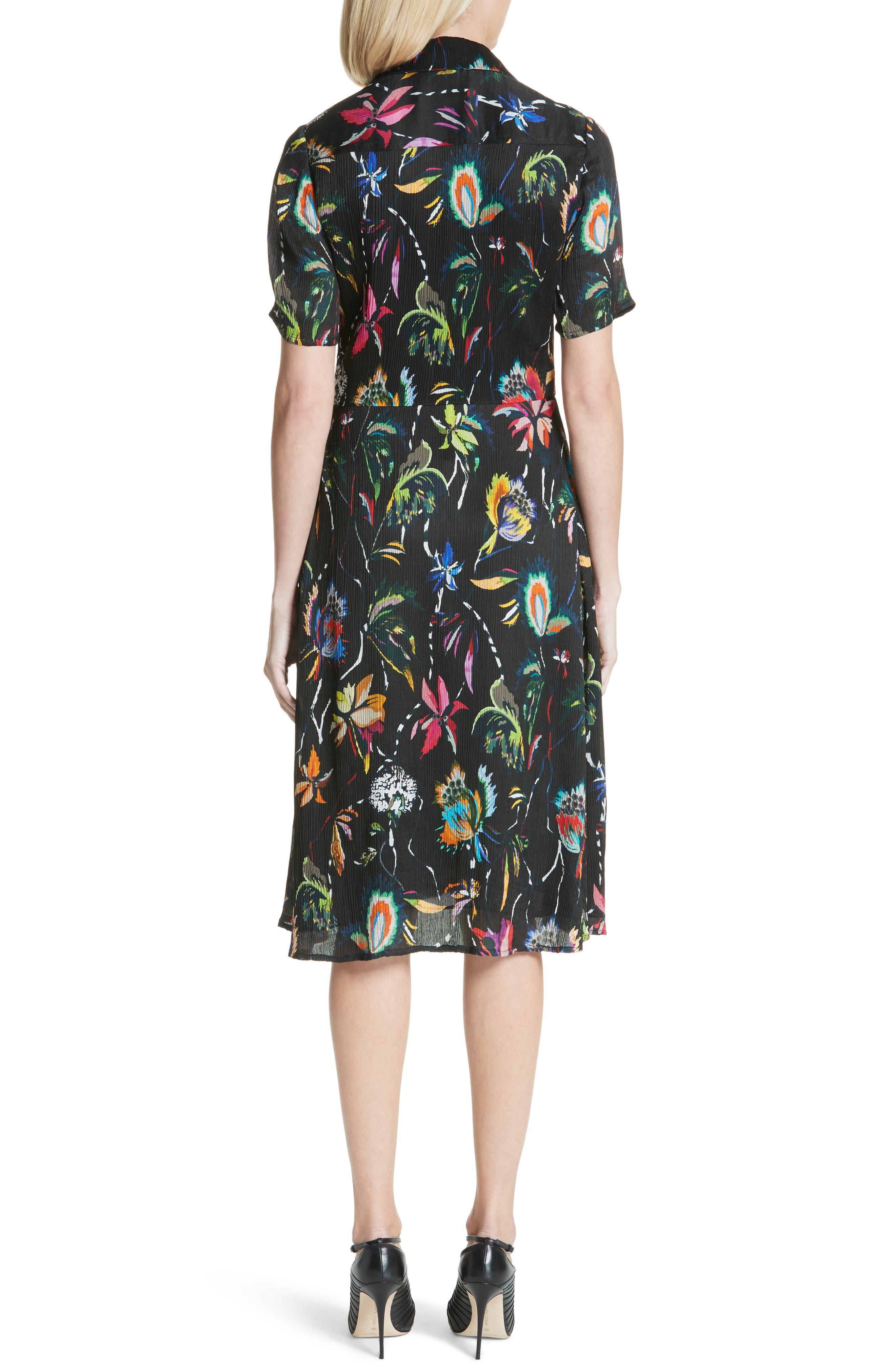 Floral Print Plissé Silk Crepon Dress,                             Alternate thumbnail 2, color,