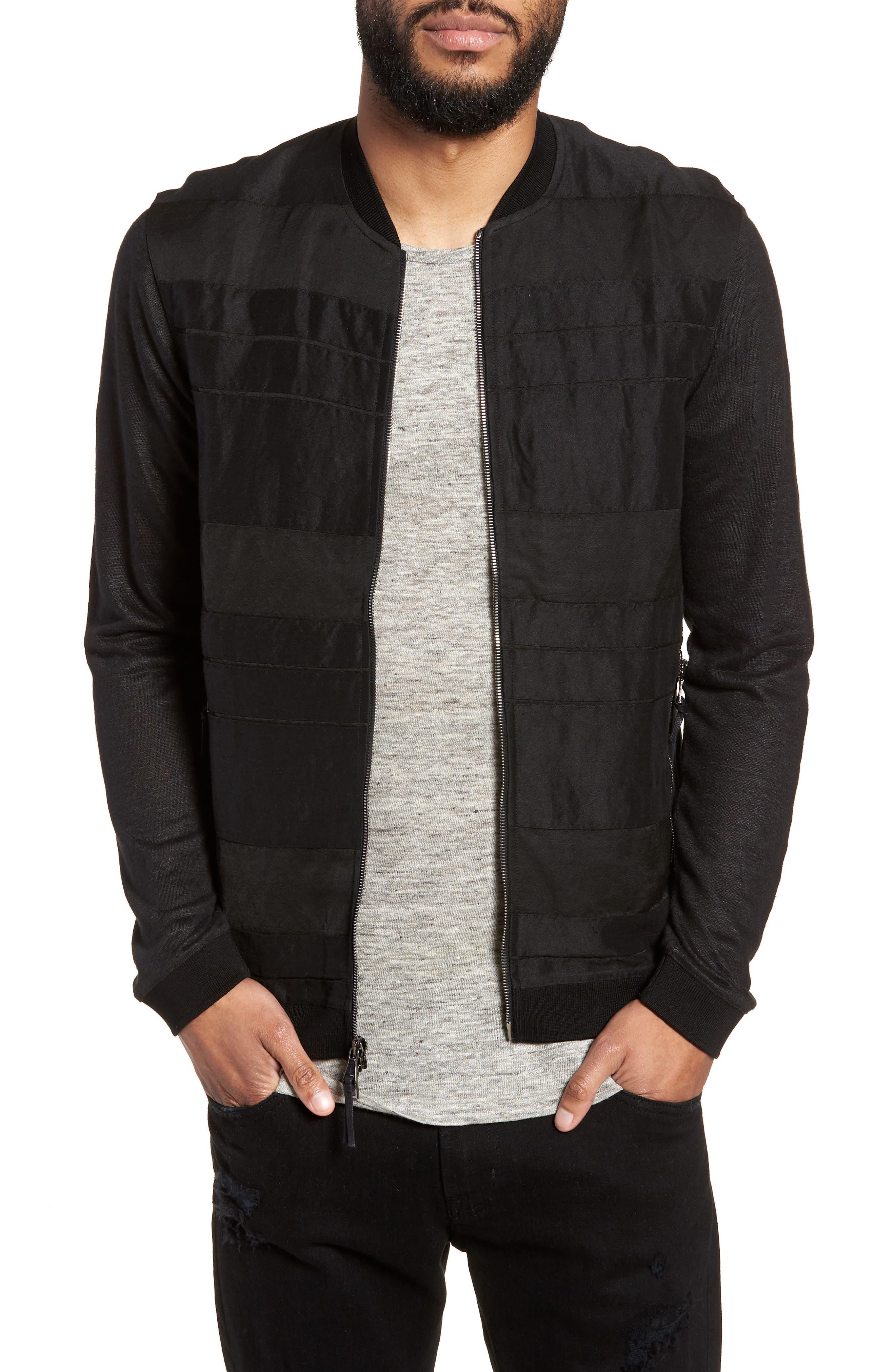 John Varvatos x Nick Jonas Zip Front Jacket,                         Main,                         color, 001