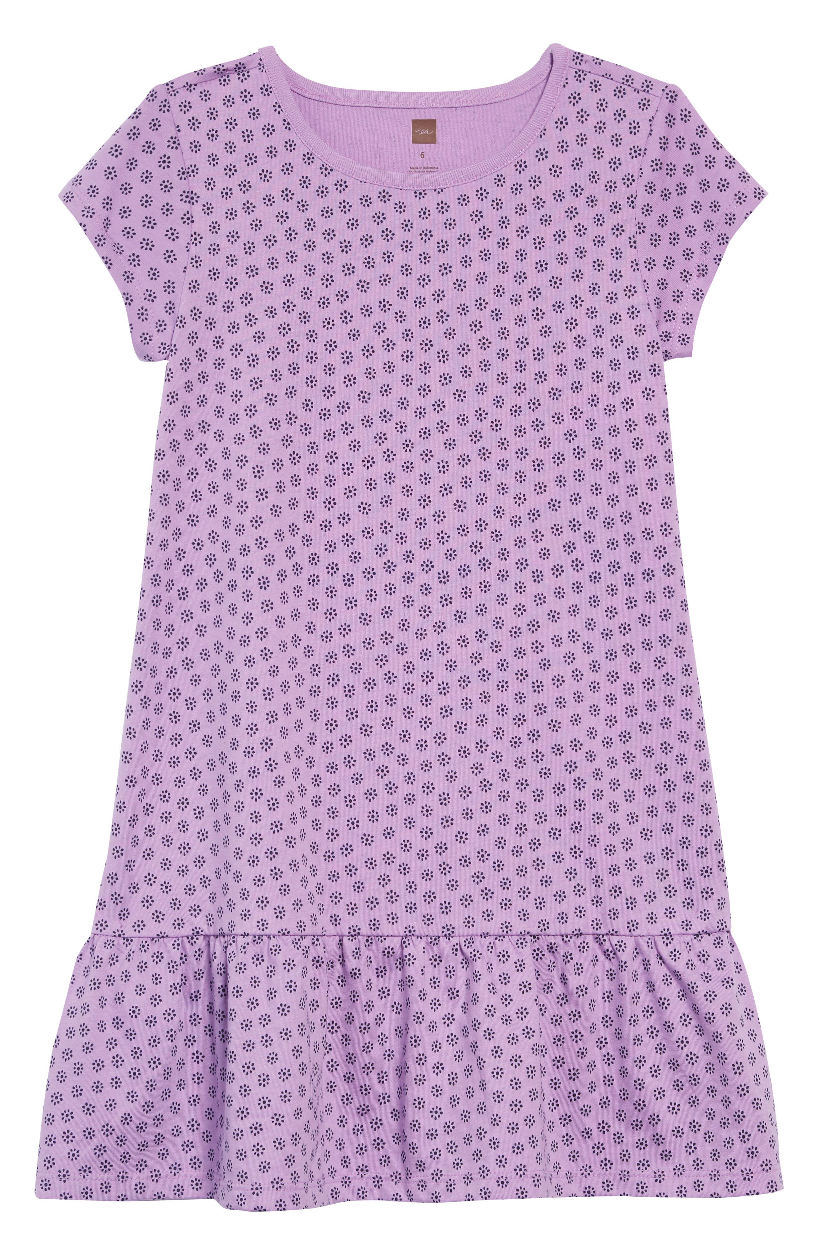 Print Ruffle Dress, Main, color, POTTERY FLORAL