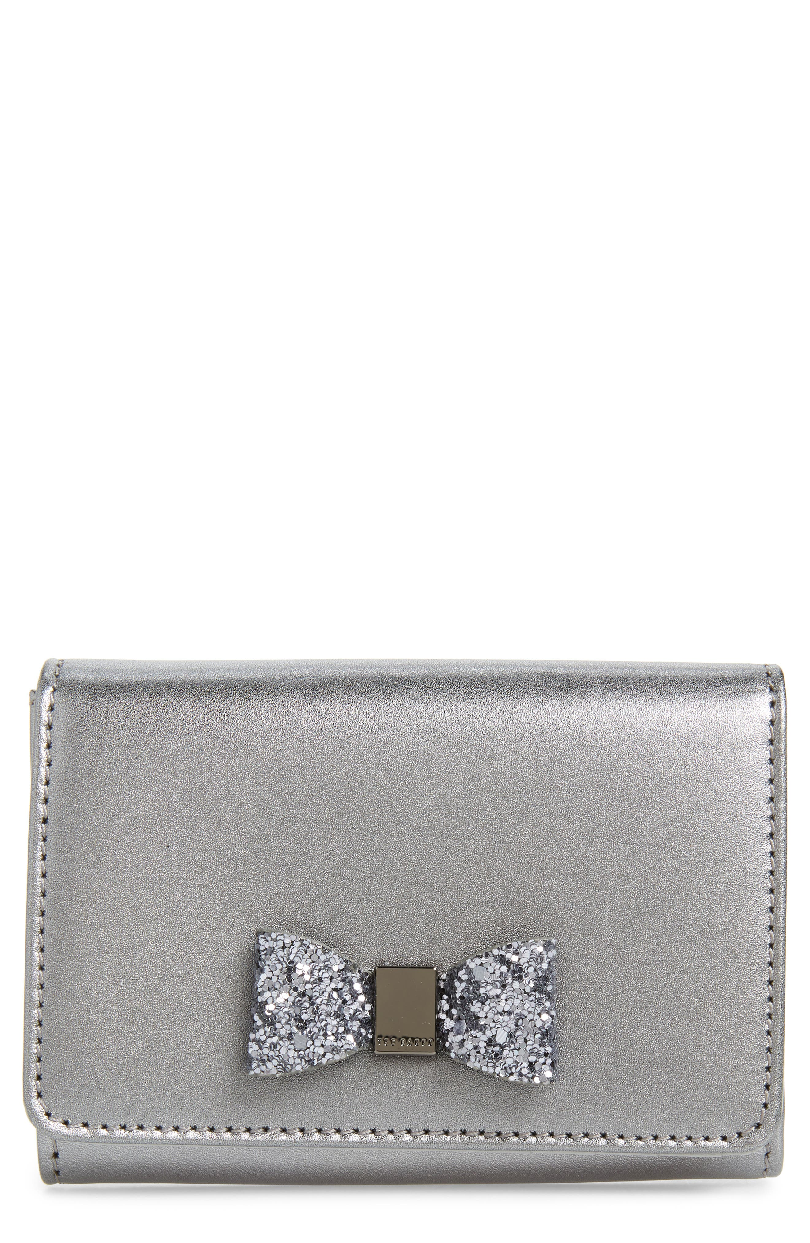 Mini Anki Bow Leather Wallet,                             Main thumbnail 1, color,                             GUNMETAL