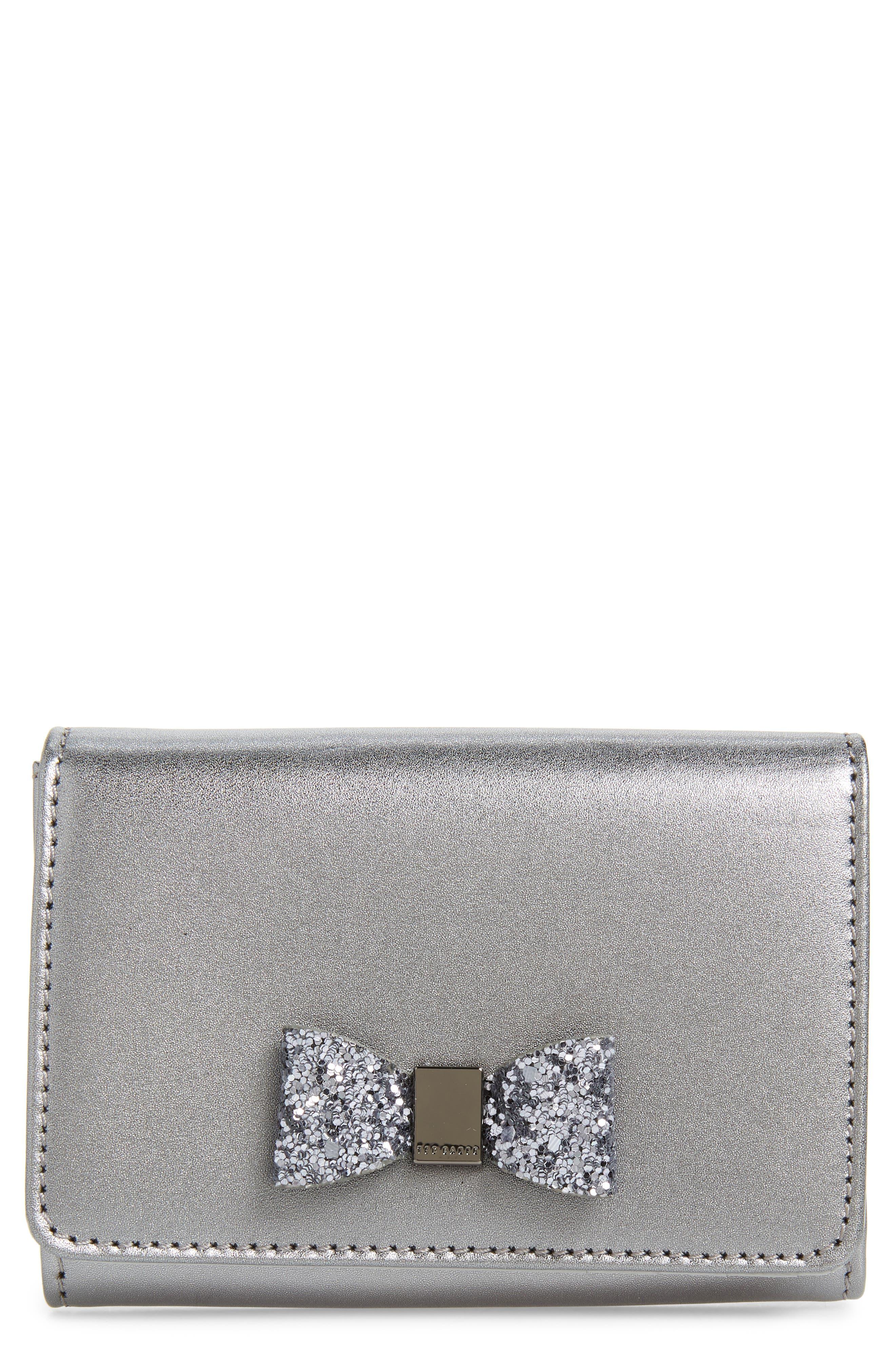 Mini Anki Bow Leather Wallet, Main, color, GUNMETAL