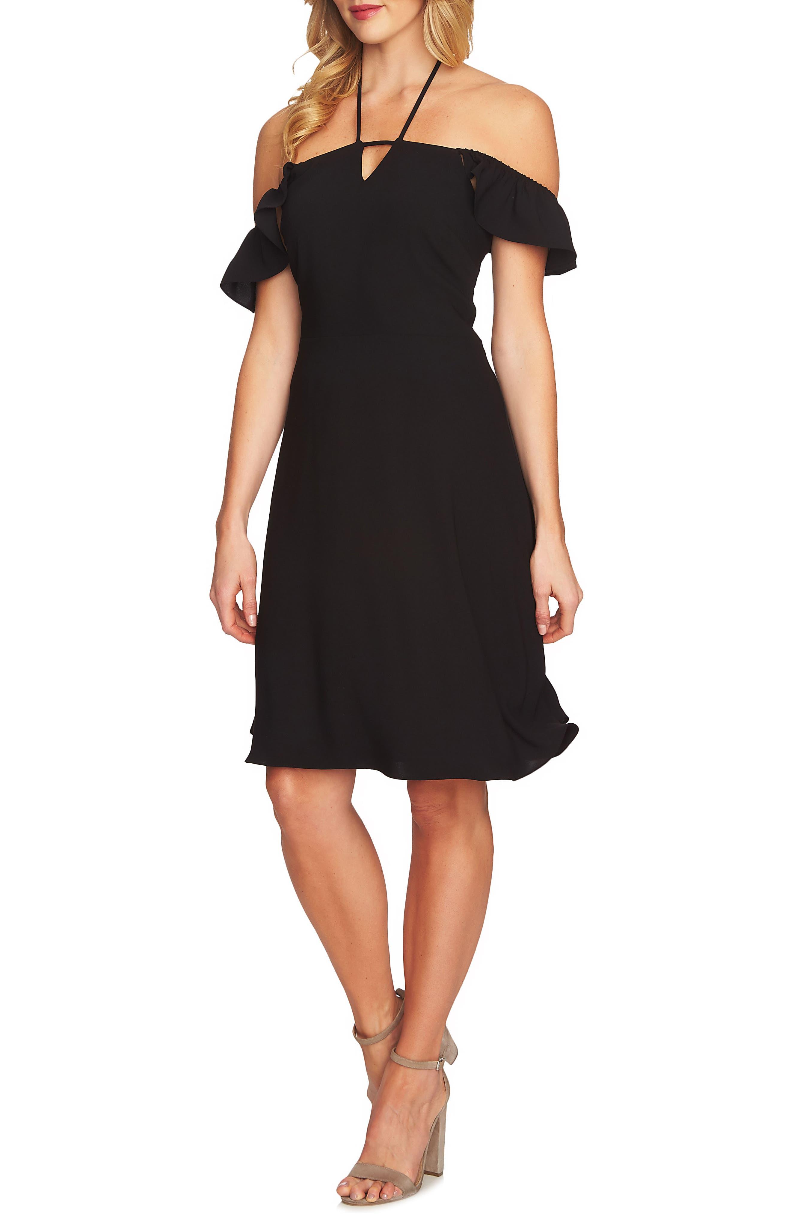 Flutter Sleeve Halter Neck Dress,                         Main,                         color, 006