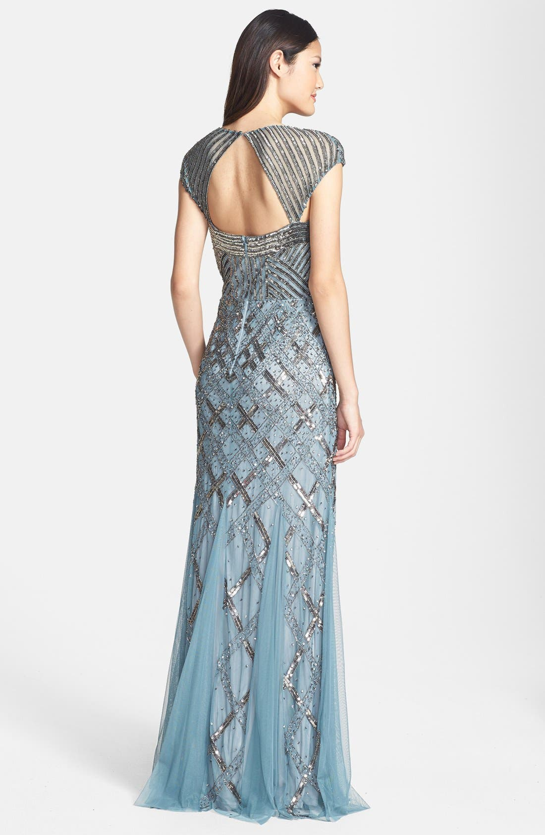 ADRIANNA PAPELL,                             Embellished Mesh Mermaid Gown,                             Alternate thumbnail 3, color,                             030