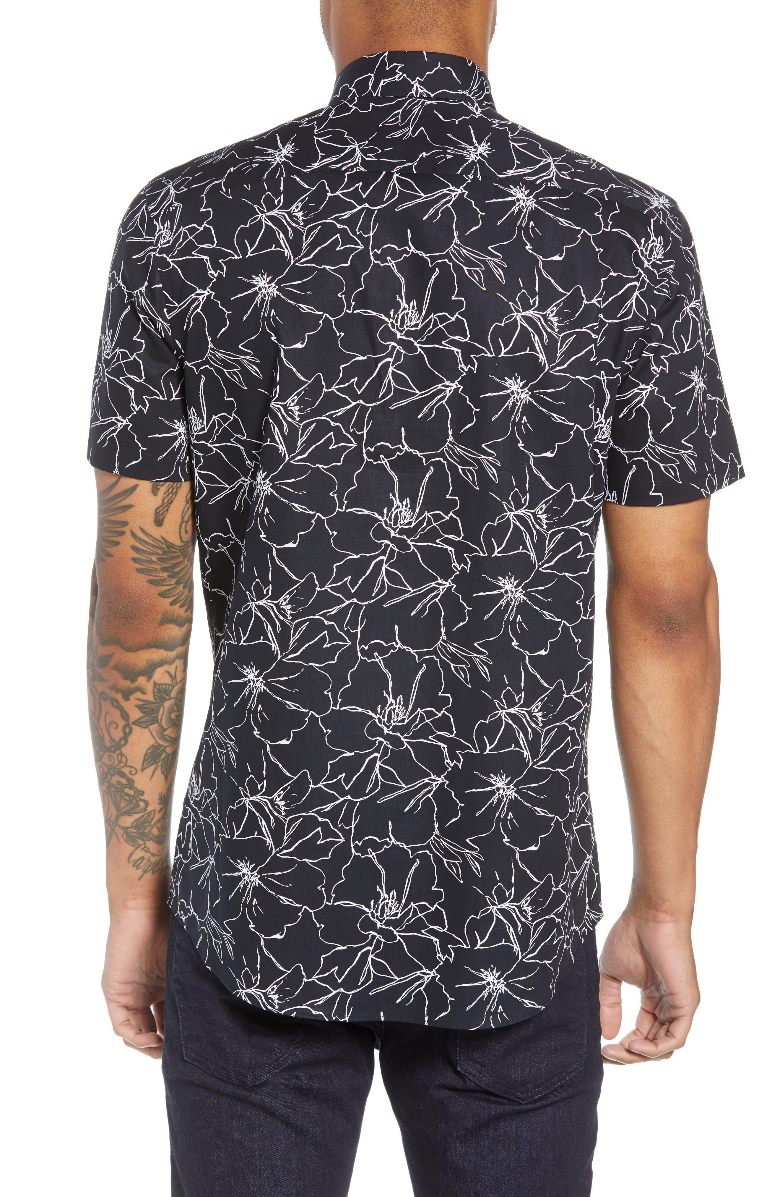 Trim Fit Hibiscus Print Sport Shirt,                             Alternate thumbnail 2, color,                             001
