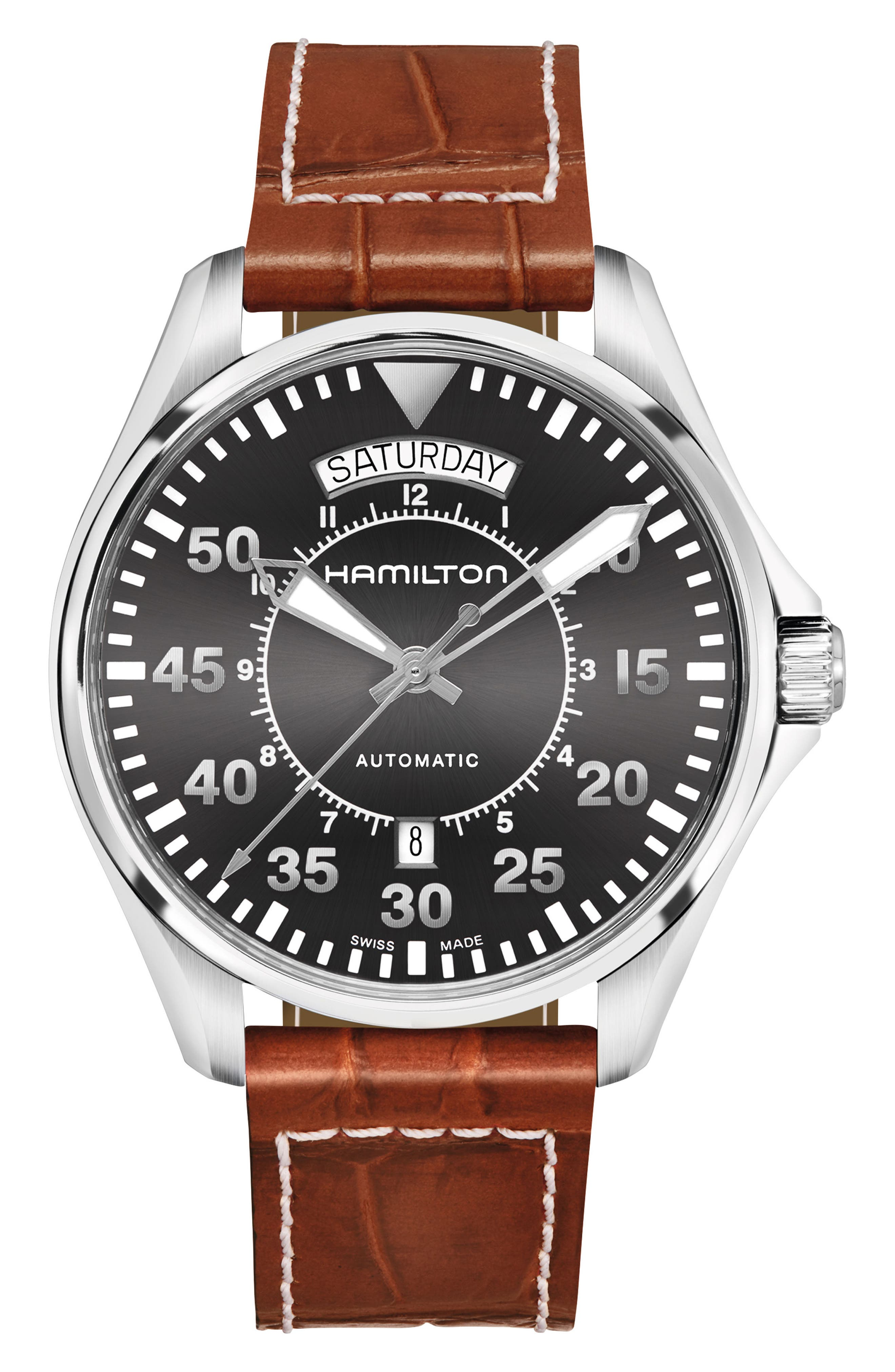 Khaki Pilot Automatic Leather Strap Watch, 42mm,                             Main thumbnail 1, color,                             BROWN/ GREY/ SILVER