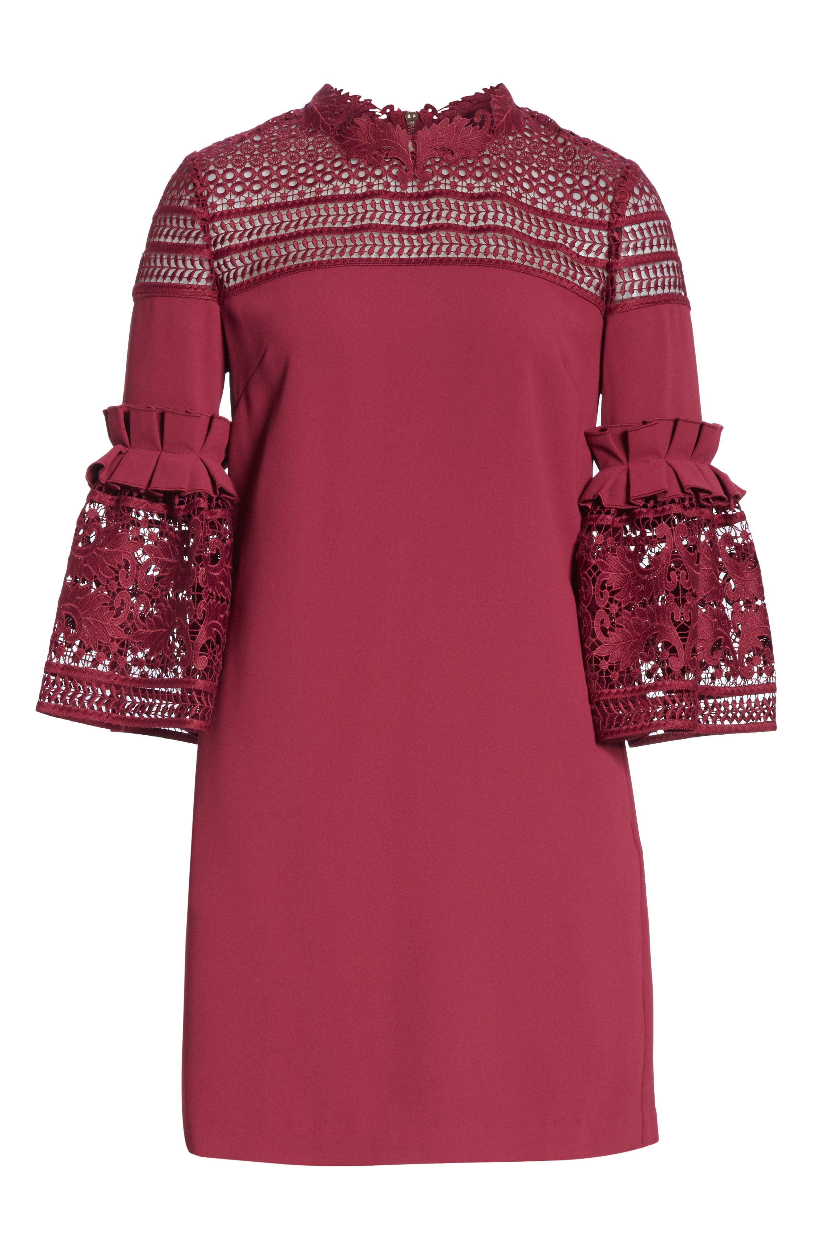 Lace Panel Bell Sleeve Tunic Dress,                             Alternate thumbnail 6, color,                             MAROON