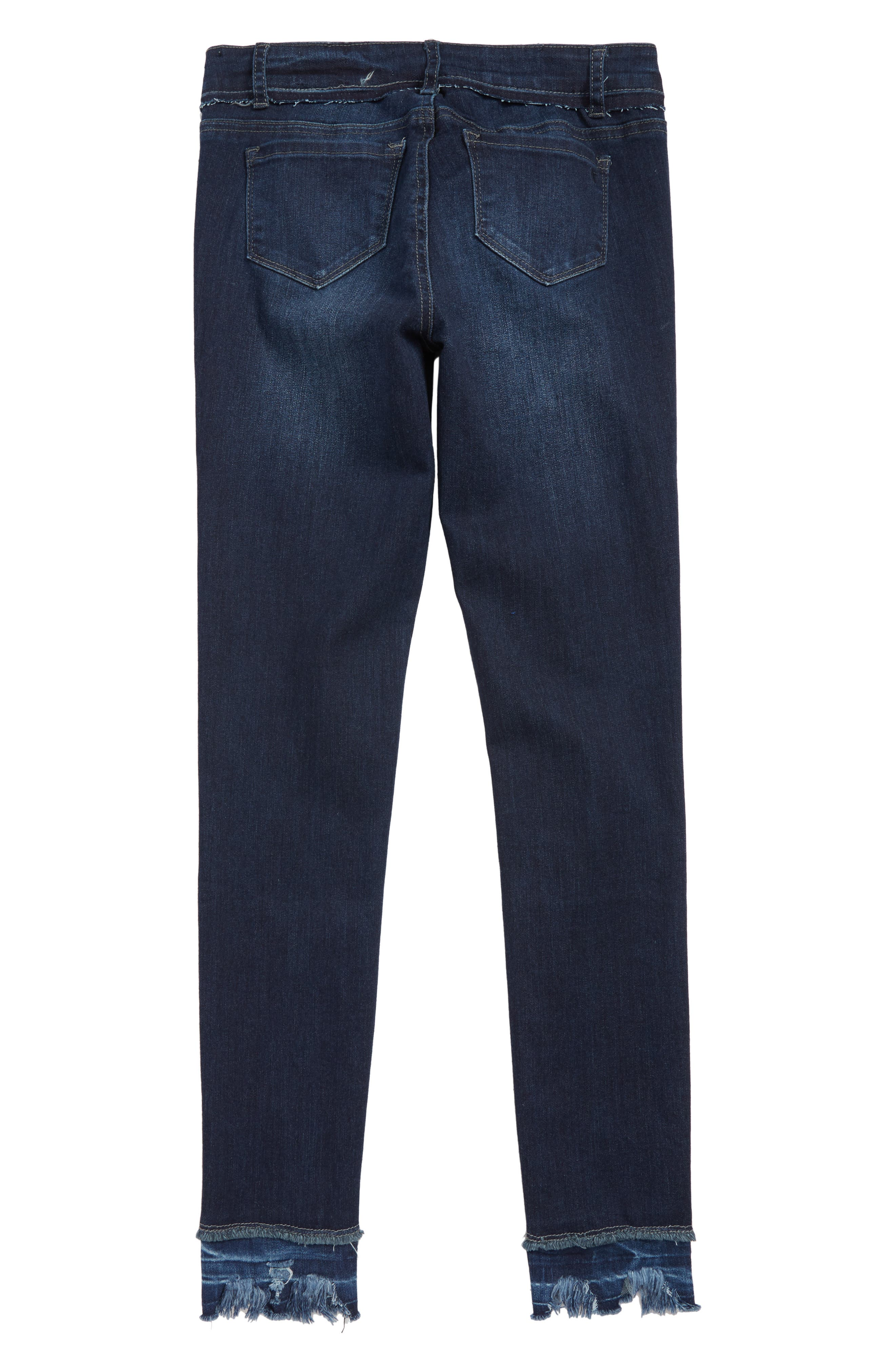 Distressed Frayed Bite Hem Skinny Jeans,                             Alternate thumbnail 2, color,                             DARK INDIGO