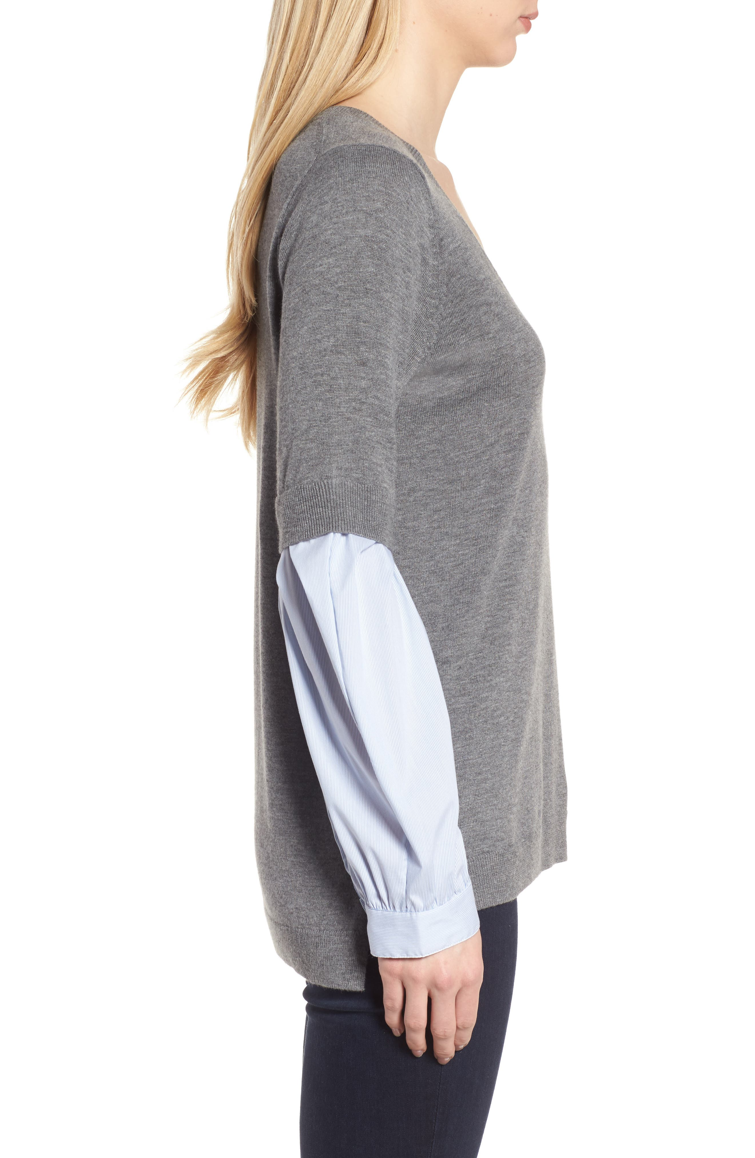 Woven Sleeve Sweater,                             Alternate thumbnail 3, color,                             030